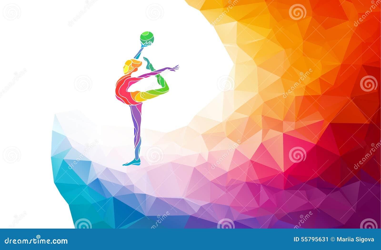 Kreatywnie sylwetka gimnastyczna dziewczyna sztuka