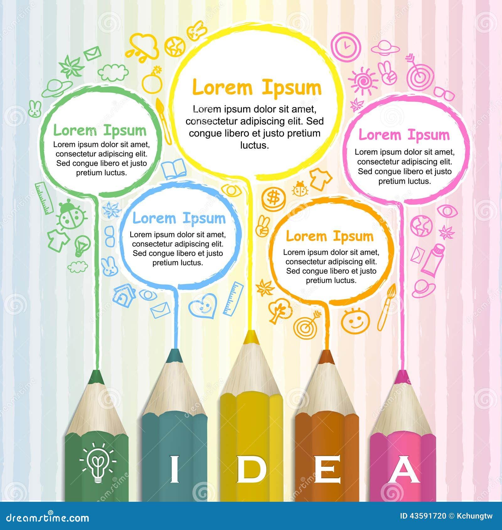 Kreatywnie szablon infographic z kolorową ołówka rysunku linią