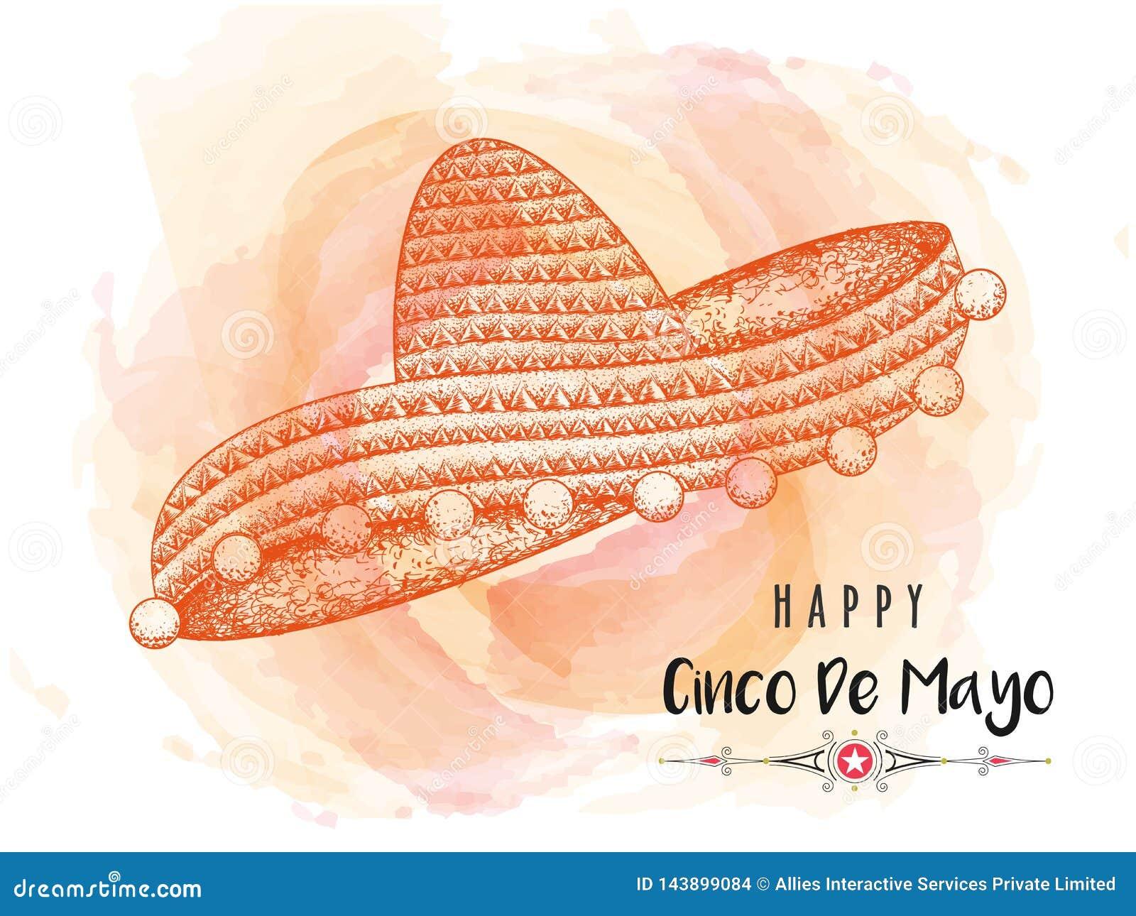 Kreatywnie sztandar lub plakatowy projekt z ilustracją sombrero kapelusz dla Szczęśliwego Cinco De Mayo