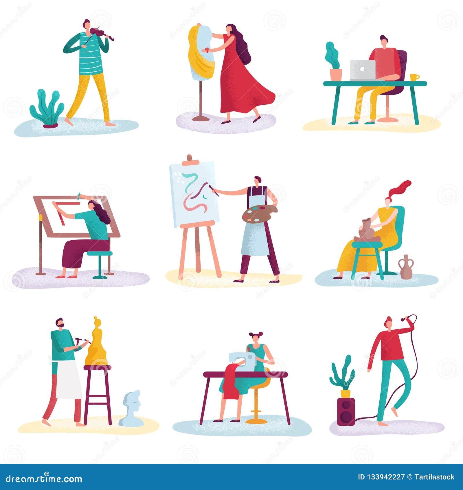Kreatywnie zawodu artysty sztuki rzeźbiarza, rzemieślnika malarz i projektant mody Artystyczni ludzie, Twórców artyści