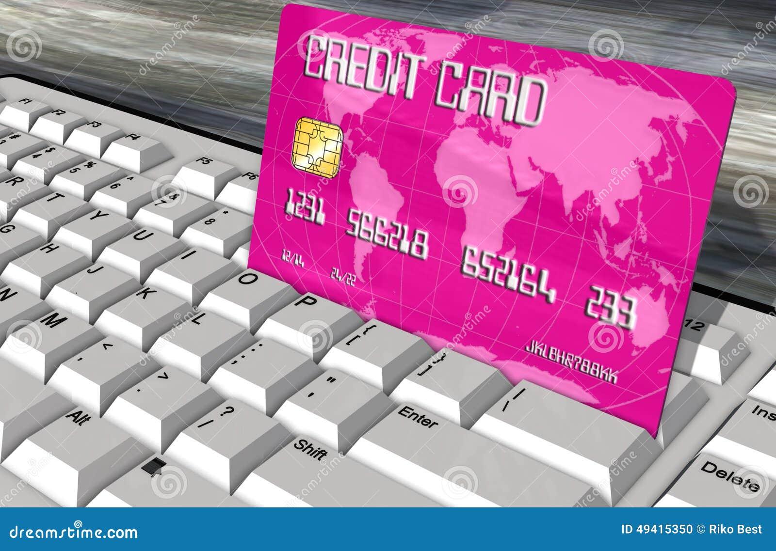 Download Kreditkarte Auf Computertastaturnahaufnahme Stock Abbildung - Illustration von gutschrift, computer: 49415350