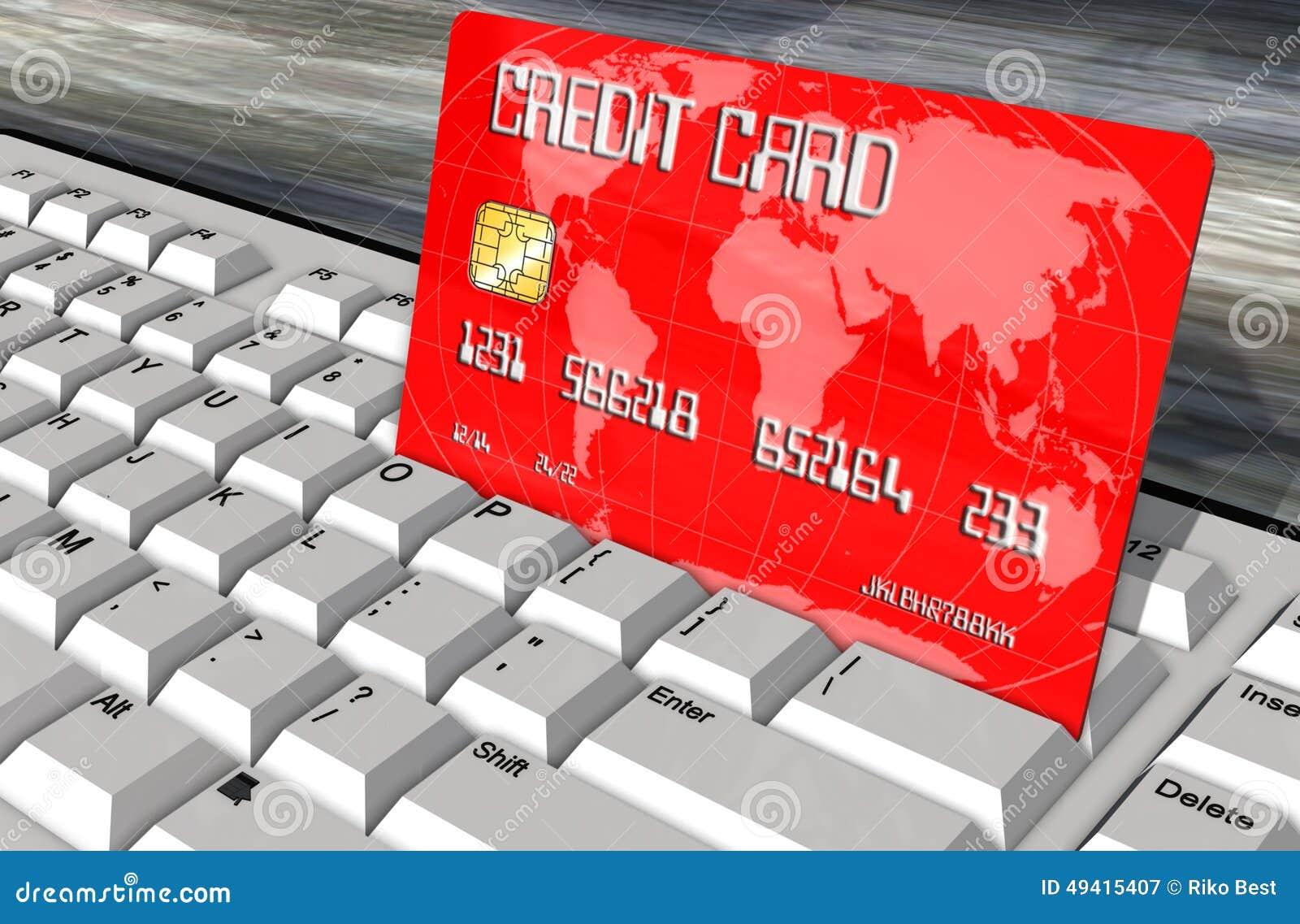 Download Kreditkarte Auf Computertastaturnahaufnahme Stock Abbildung - Illustration von einkaufen, visum: 49415407