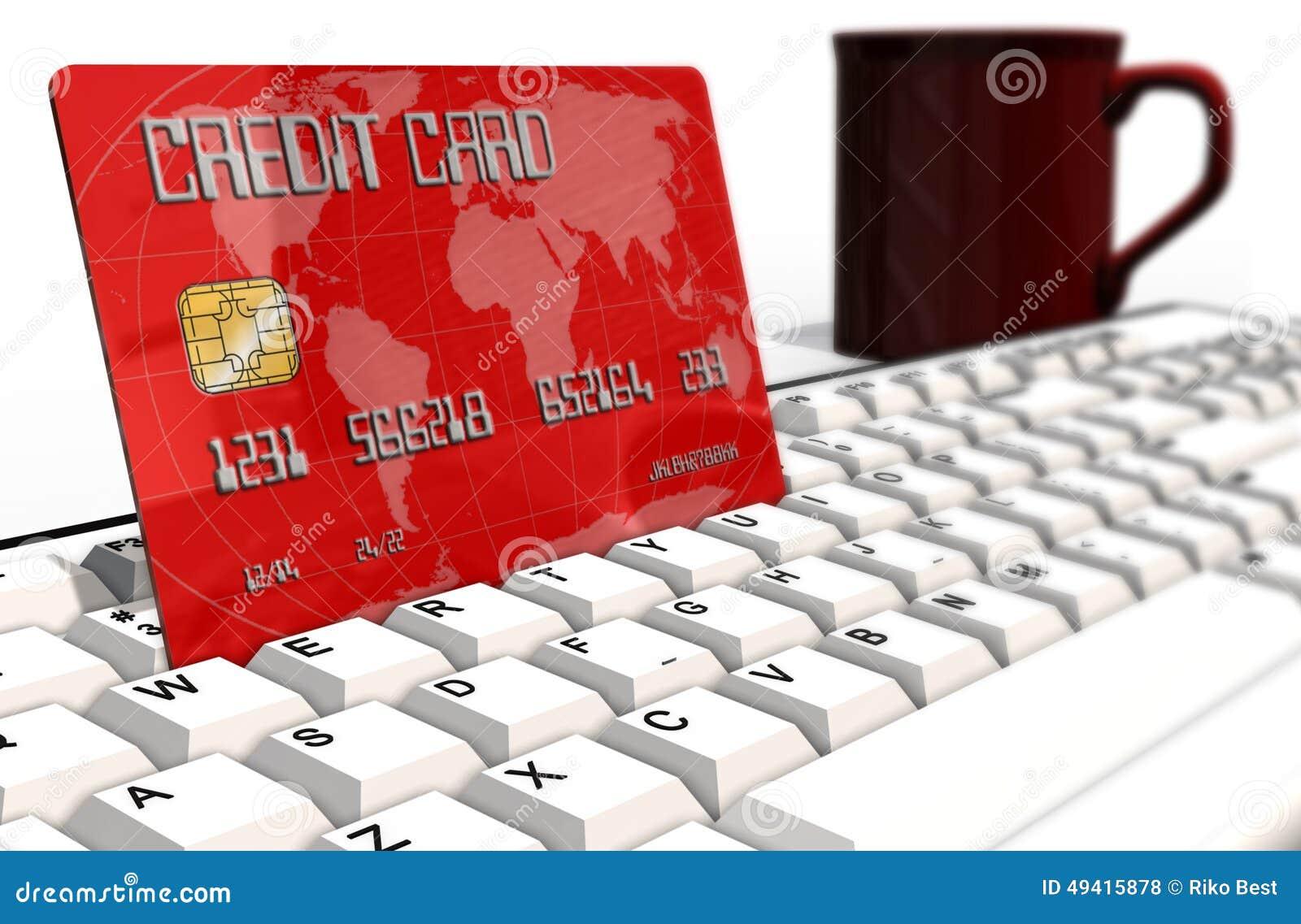 Download Kreditkarte Auf Computertastaturnahaufnahme Stock Abbildung - Illustration von abschluß, niemand: 49415878