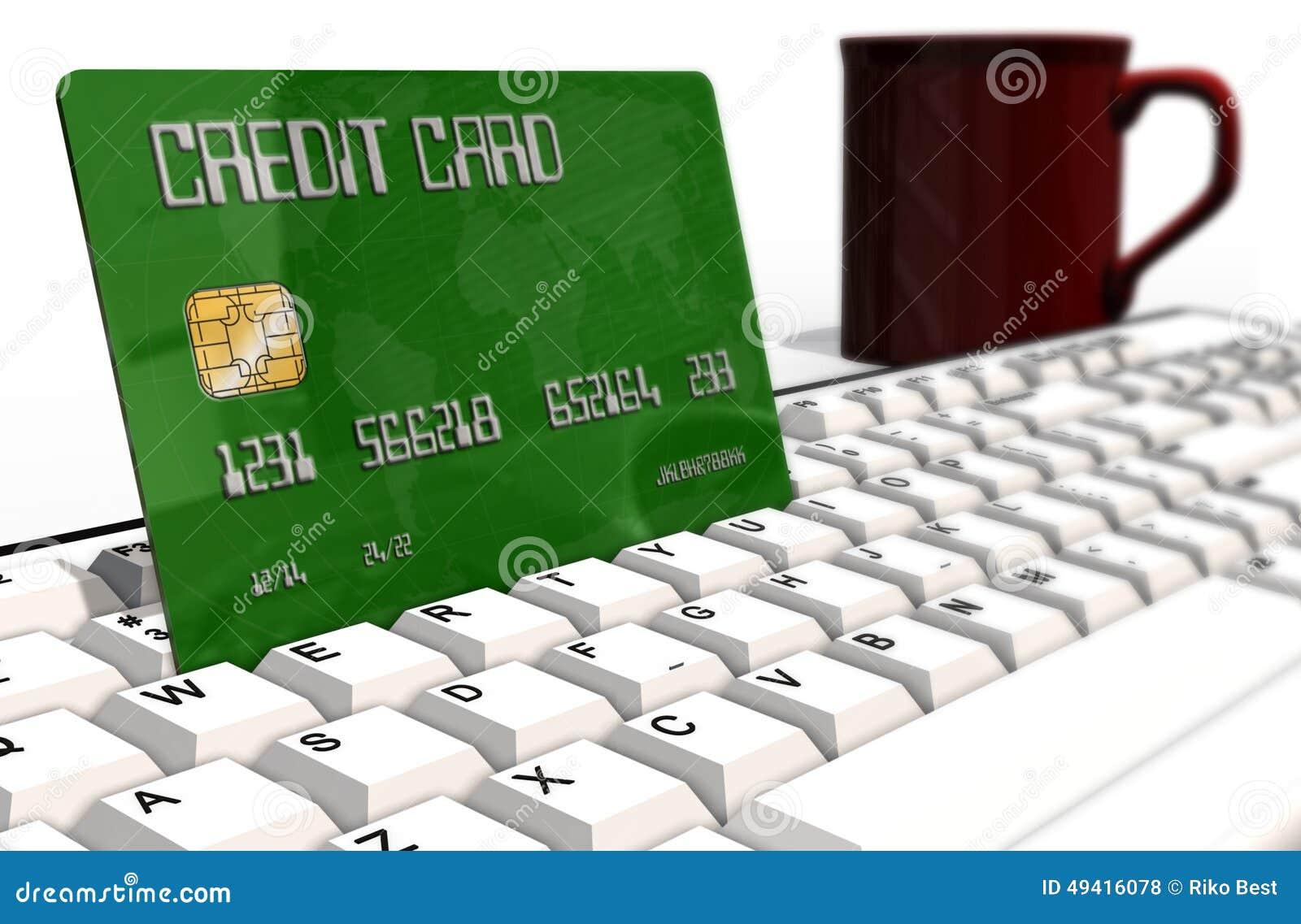 Download Kreditkarte Auf Computertastaturnahaufnahme Stockfoto - Bild von internet, nahaufnahme: 49416078