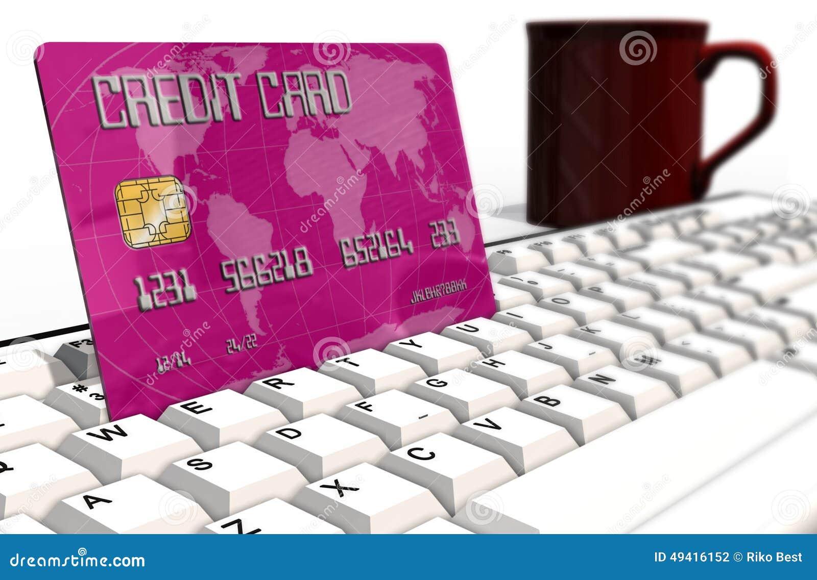 Download Kreditkarte Auf Computertastaturnahaufnahme Stock Abbildung - Illustration von geschäft, bezahlung: 49416152