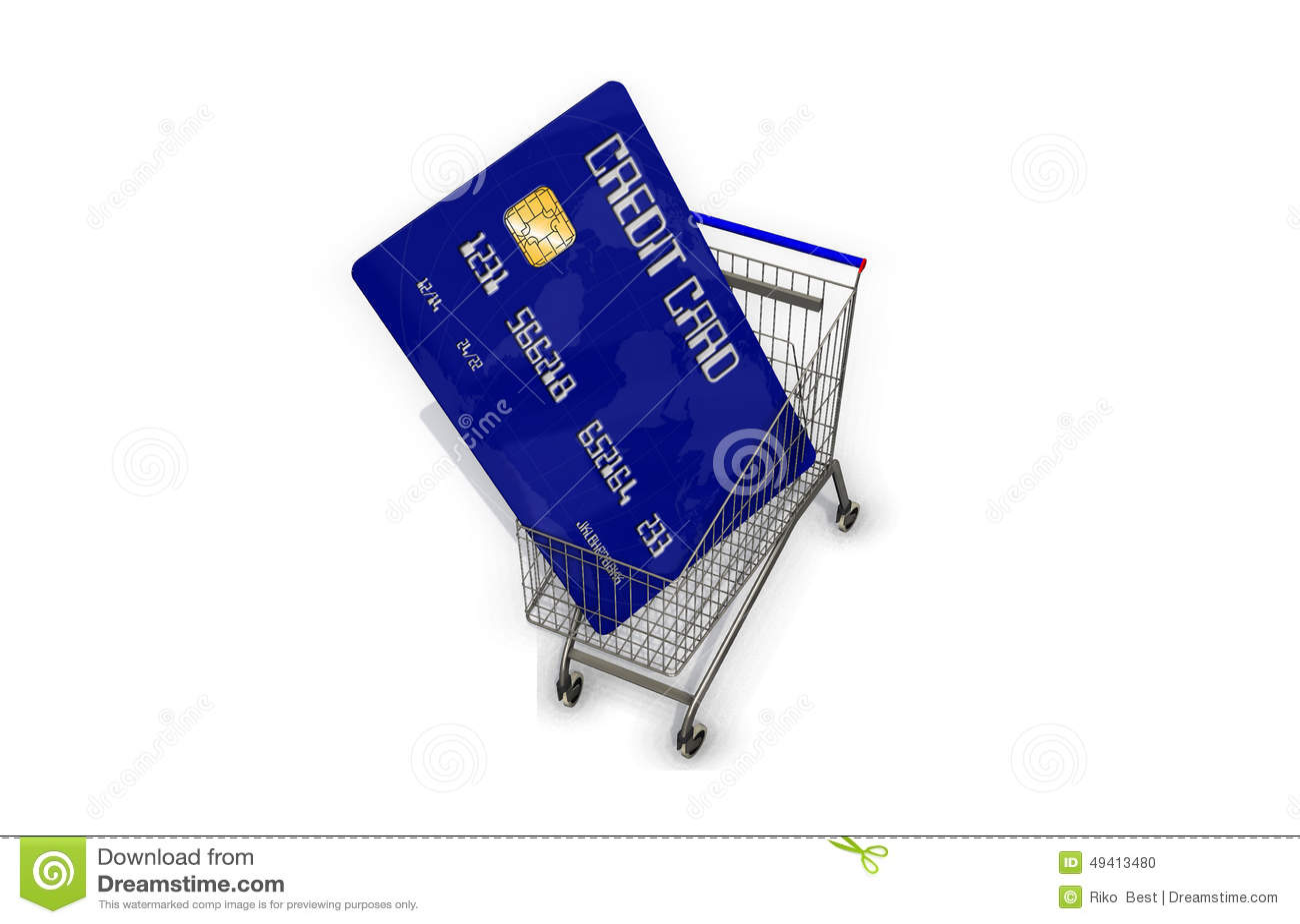 Download Kreditkarte In Einem Supermarktwarenkorb Auf Weißem Hintergrund Stock Abbildung - Illustration von erwerb, modern: 49413480