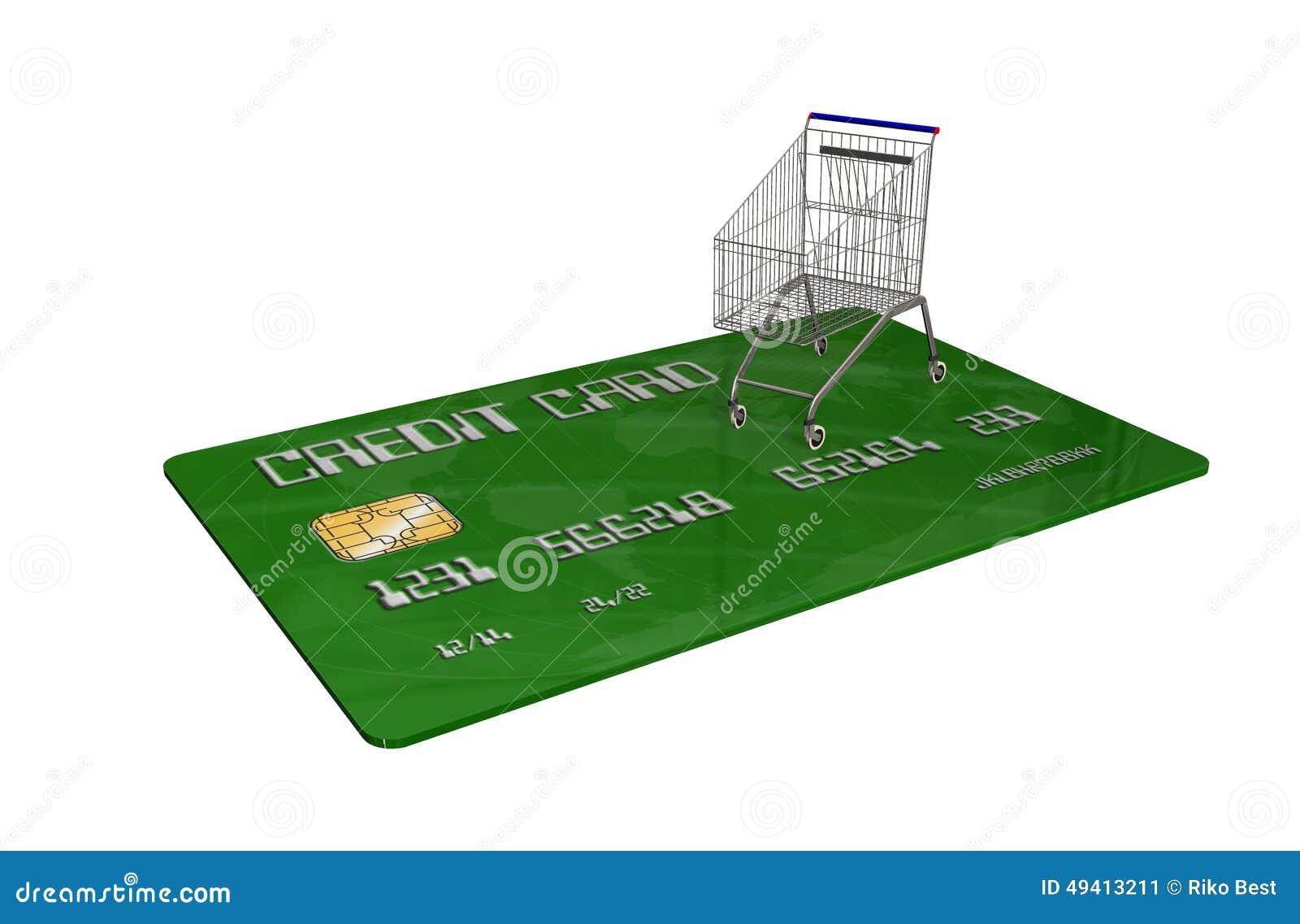Download Kreditkarte Mit Einem Warenkorb Auf Weißem Hintergrund Stock Abbildung - Illustration von metallisch, erwerb: 49413211