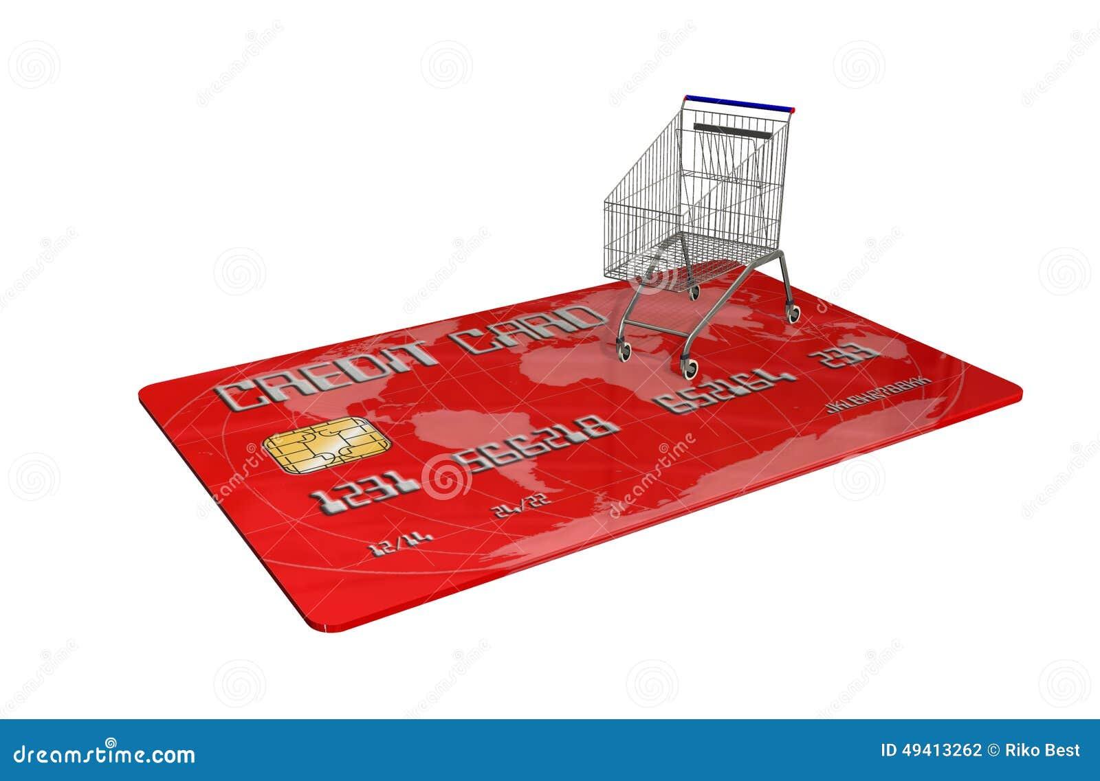 Download Kreditkarte Mit Einem Warenkorb Auf Weißem Hintergrund Stock Abbildung - Illustration von erwerb, marketing: 49413262