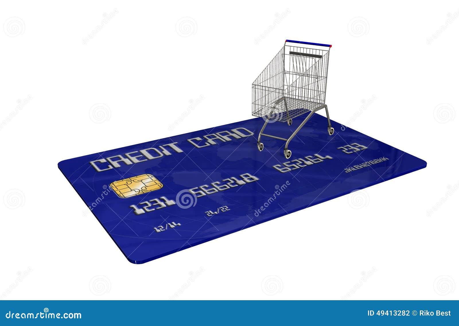 Download Kreditkarte Mit Einem Warenkorb Auf Weißem Hintergrund Stock Abbildung - Illustration von finanziell, einzelverkauf: 49413282