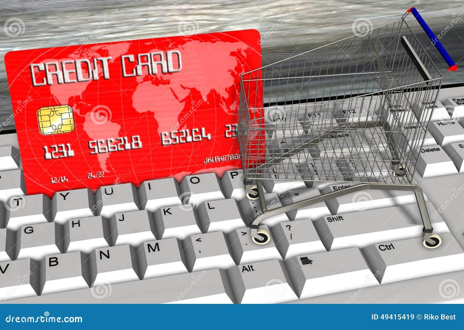 Download Kreditkarte Und Warenkörbe Auf Computertastaturnahaufnahme Stock Abbildung - Illustration von gutschrift, niemand: 49415419
