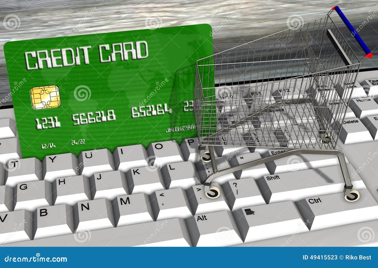 Download Kreditkarte Und Warenkörbe Auf Computertastaturnahaufnahme Stock Abbildung - Illustration von weiß, bankverkehr: 49415523