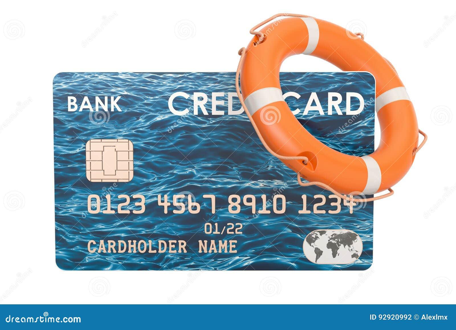 Kreditkort med lifebelten, säkerhetsbetalningbegrepp renderin 3D