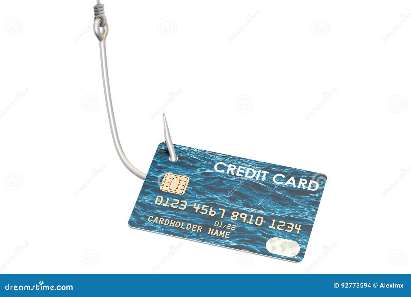 Kreditkort på kroken, phishing begrepp framförande 3d