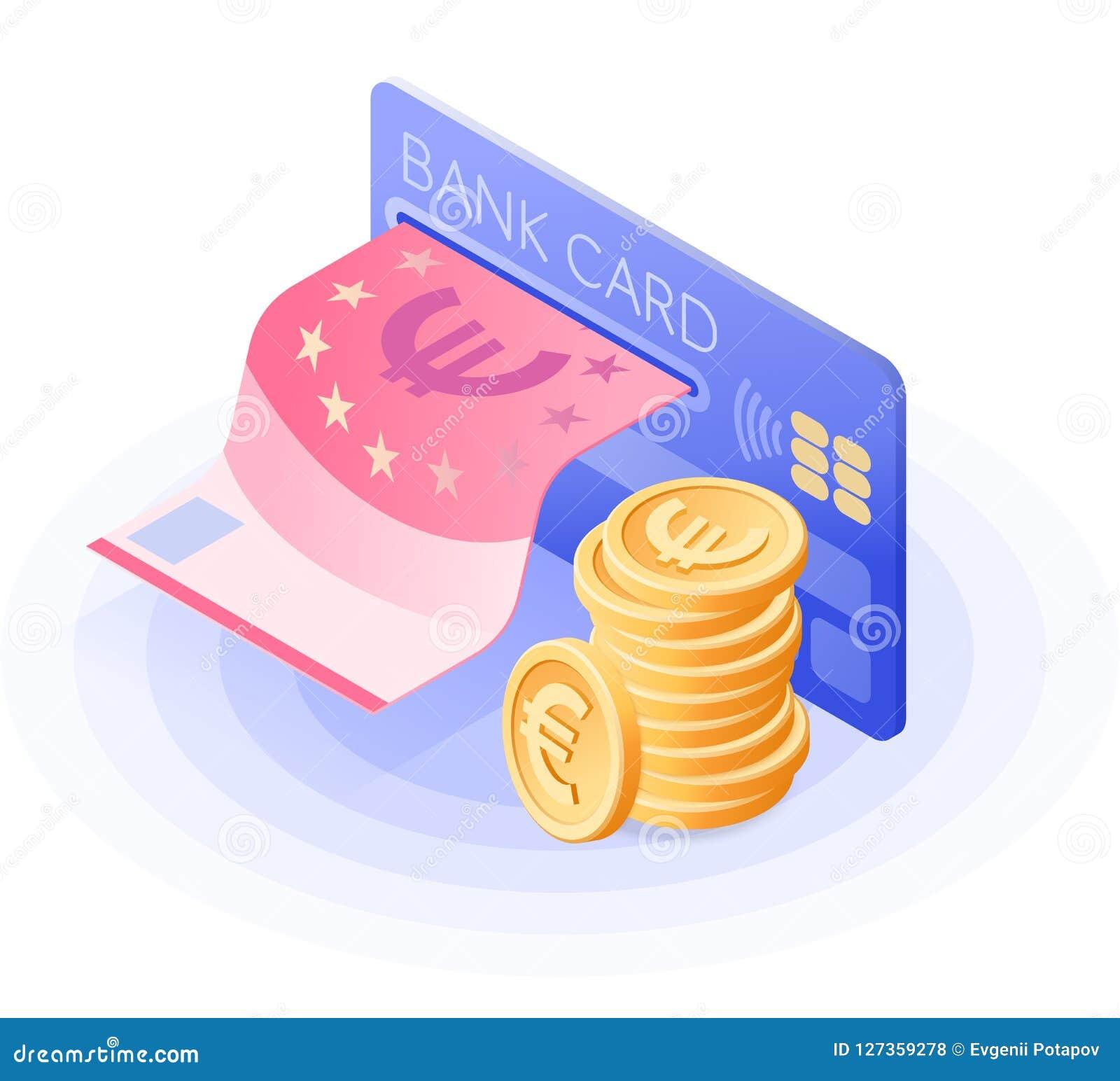 Kreditkorten, pappers- euro, bunt av mynt Isometrisk vektor
