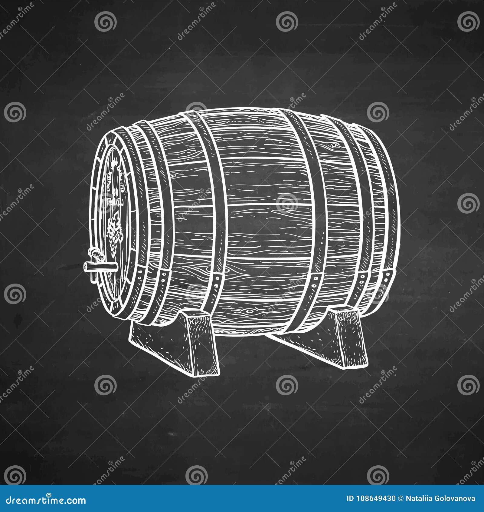 Kredowy nakreślenie drewniana baryłka