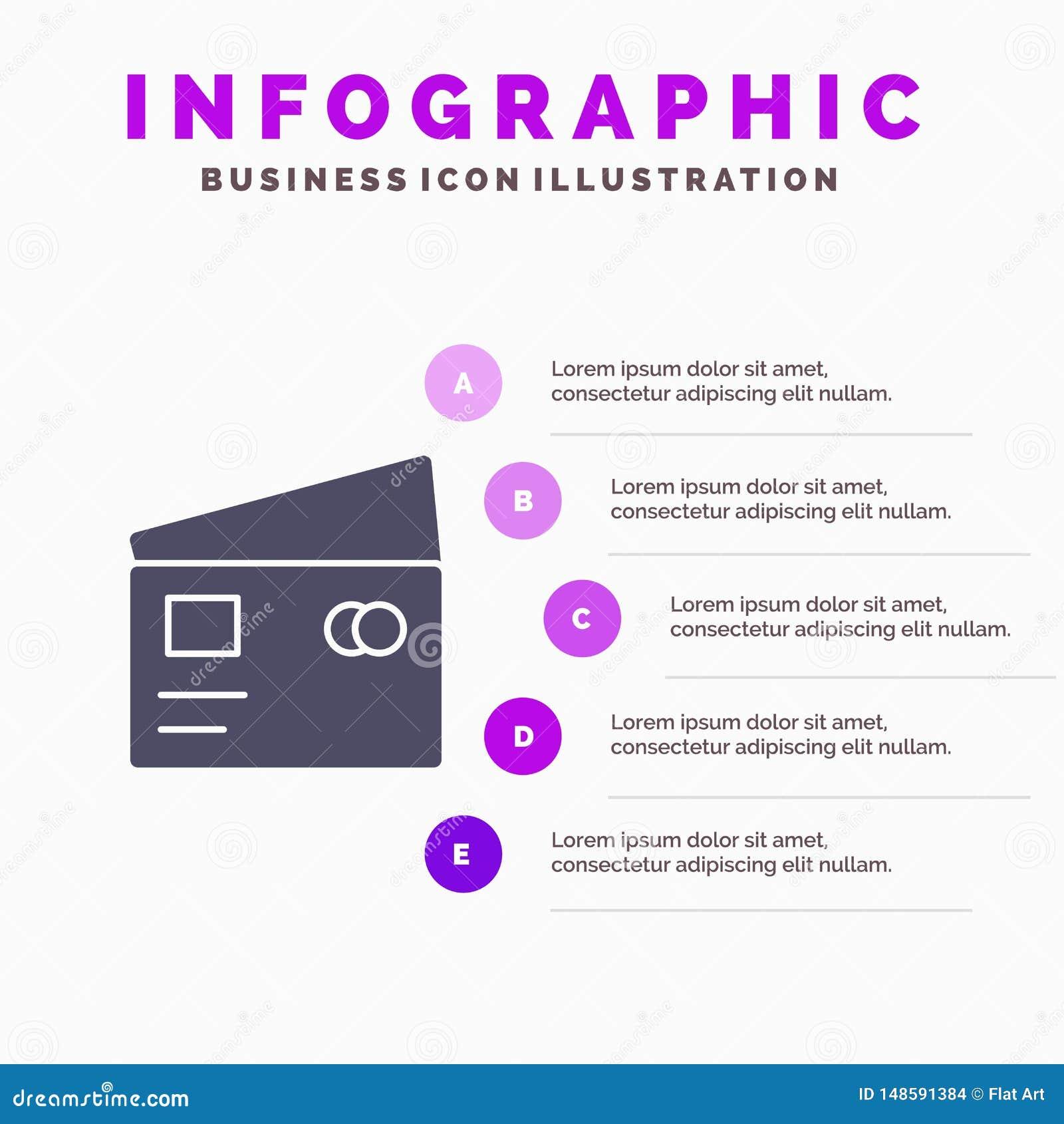 Kredyt, debet, Globalny, wynagrodzenie, Robi zakupy Stałego ikony Infographics 5 kroków prezentacji tło