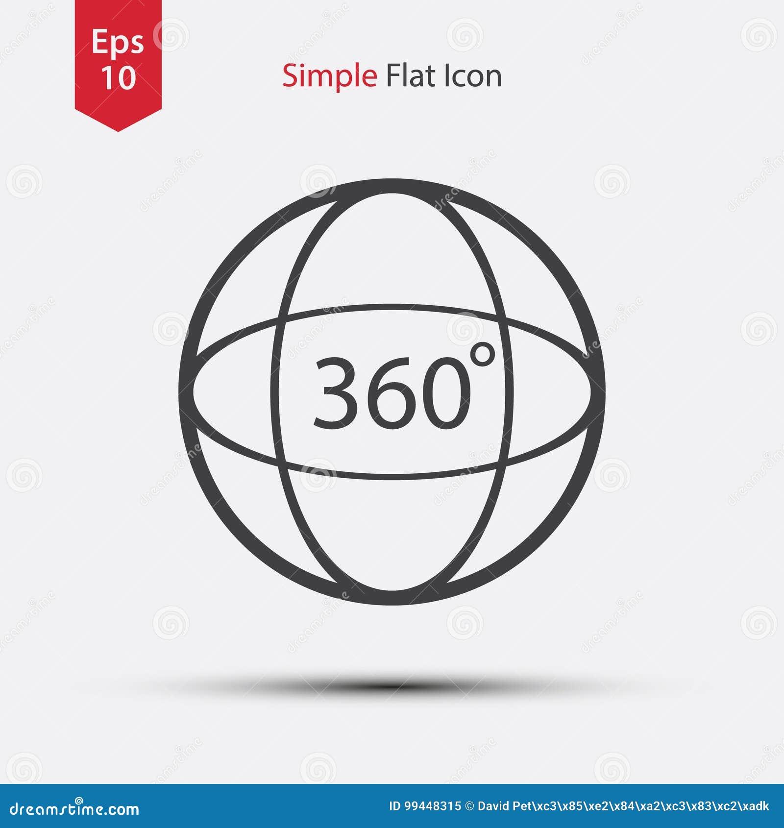 Kreis 360 Grad-Text Nach Innen Einfaches Zeichen Des 180 Grad-Videos ...