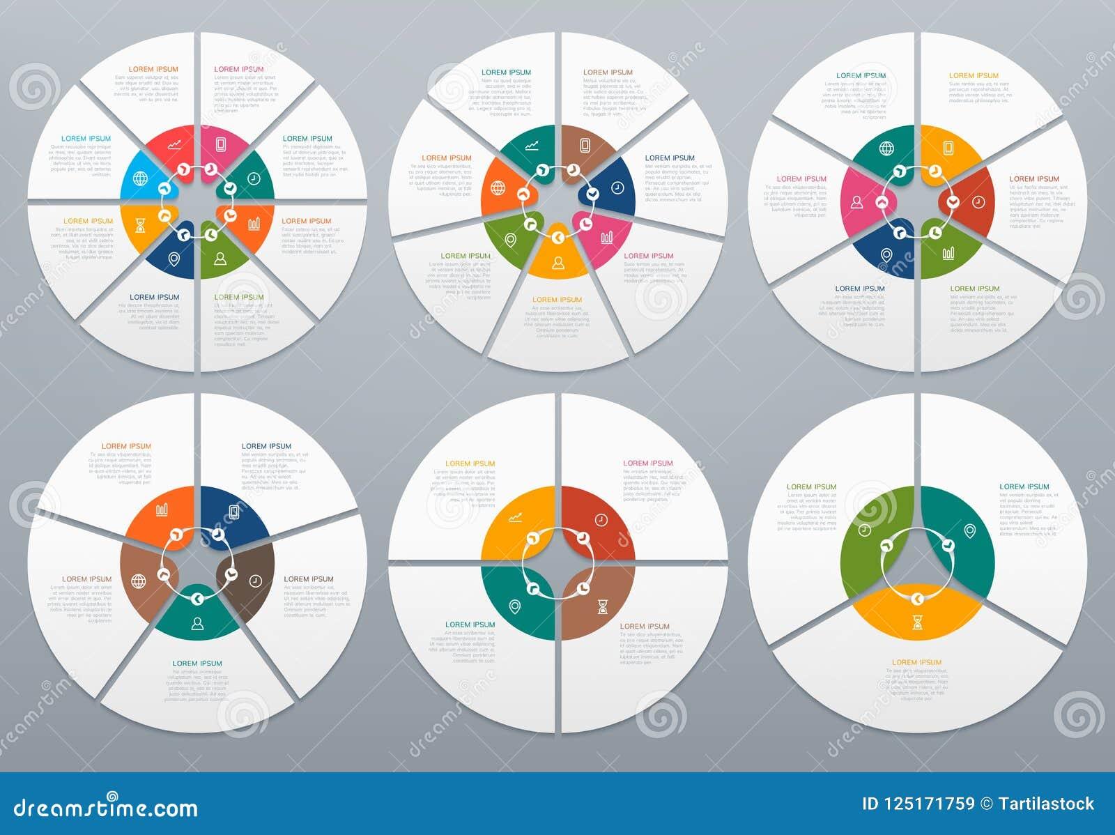 Kreis infographic Rundes Diagramm von Prozessschritten, Kreisdiagramm mit Pfeil Kreise und Pfeildiagrammdiagrammvektor