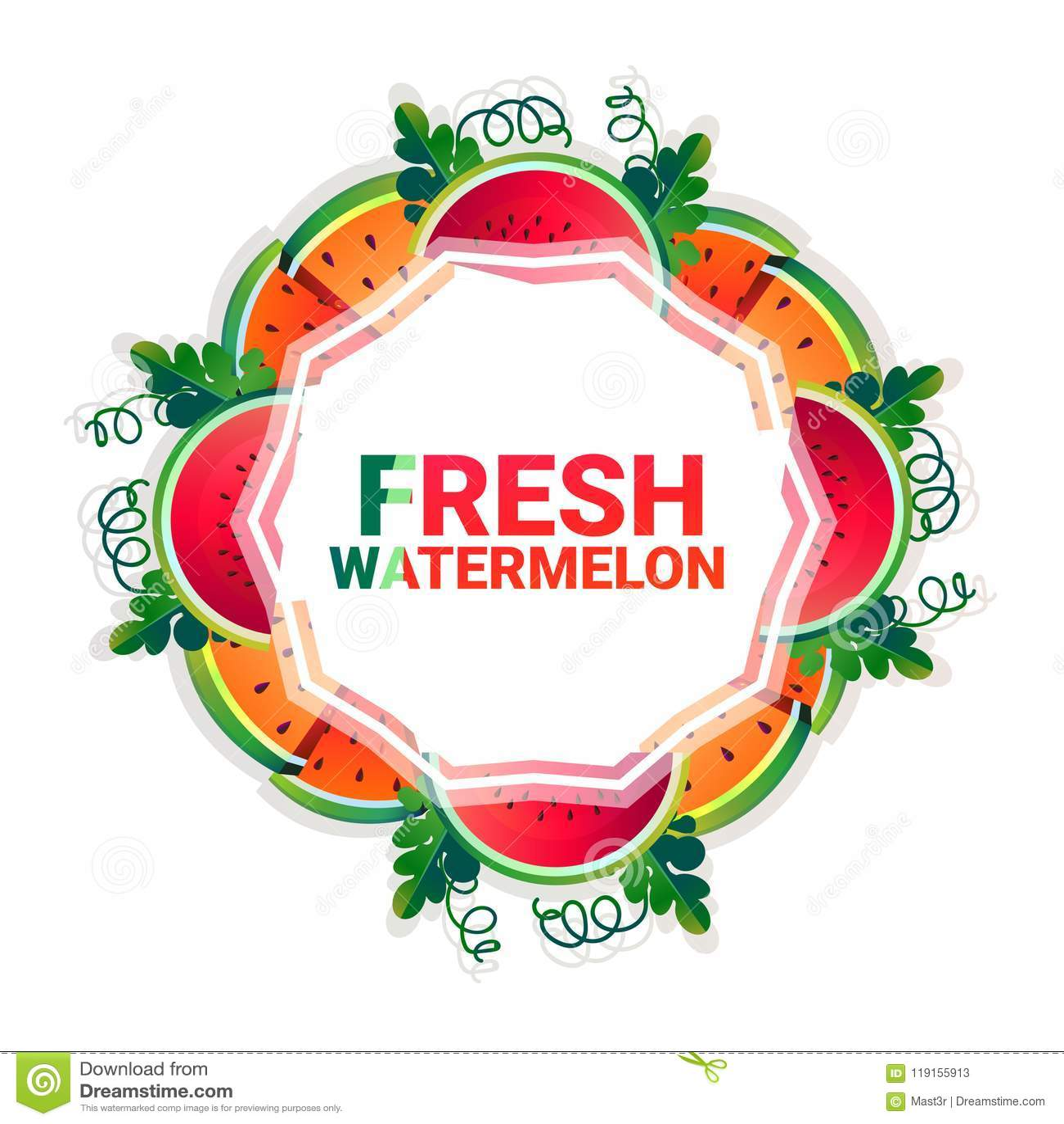 Kreis-Kopienraum der Wassermelonenfrucht bunter organisch über weißem Musterhintergrund