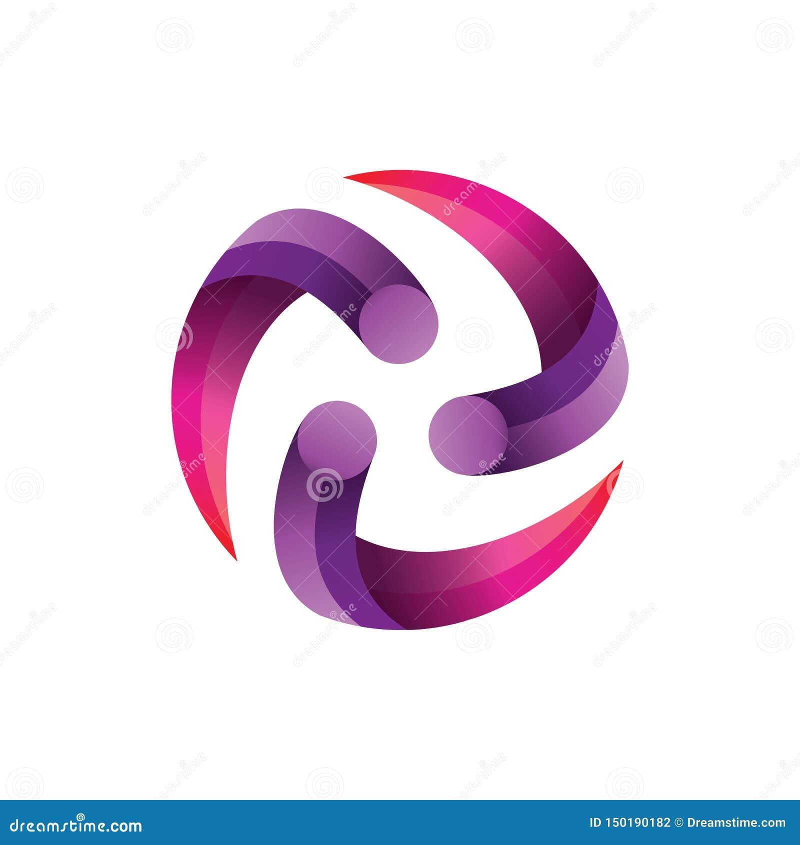 Kreis-Mitte-Steigung Logo Vector