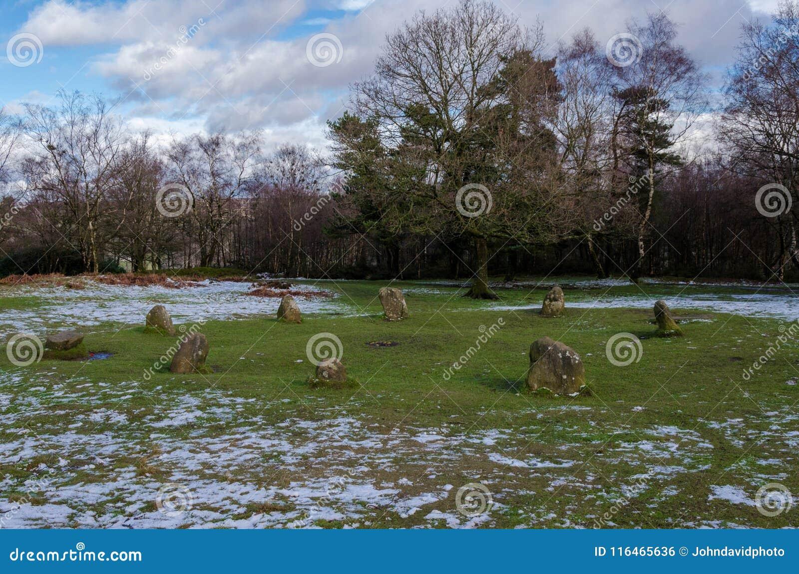 Kreis neun Damen-Stome auf Stanton Moor