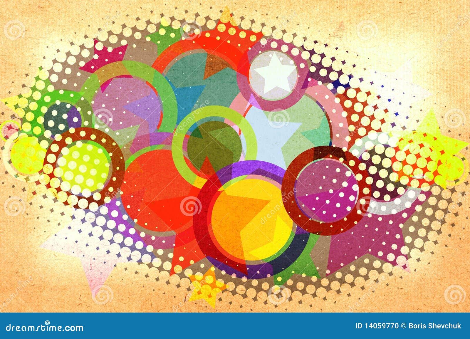 Kreise und Sterne auf einem Papier.
