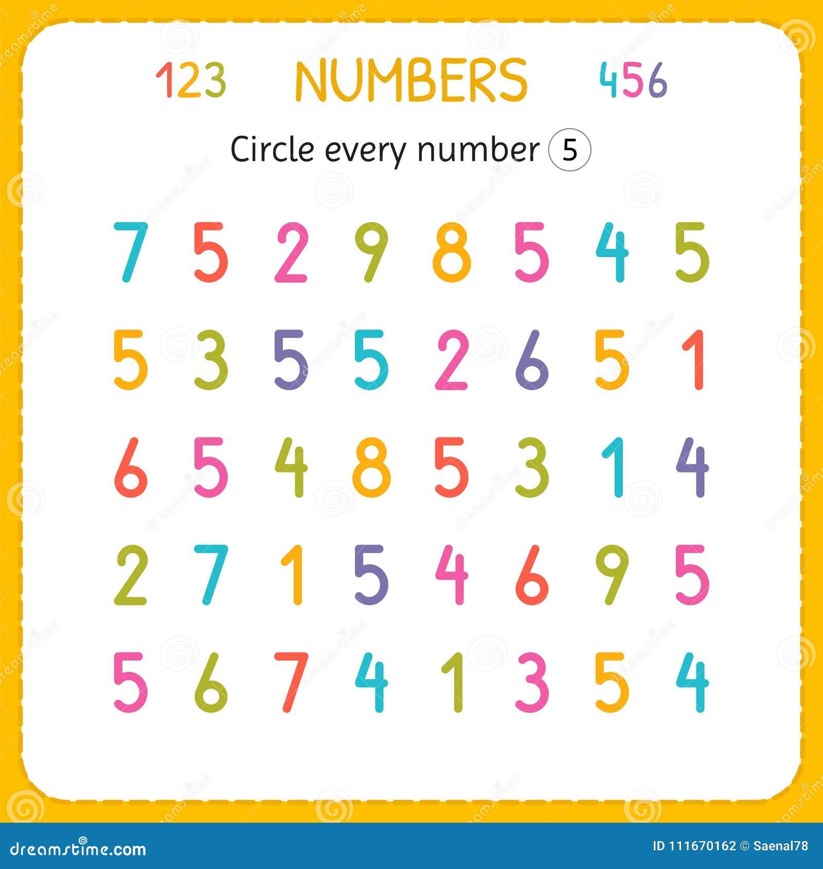 Kreisen Sie Jede Nr. Fünf Ein Zahlen Für Kinder Arbeitsblatt Für ...