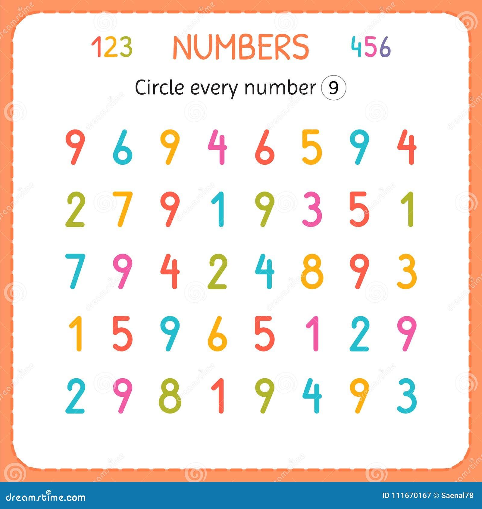 Kreisen Sie Jede Nr. Neun Ein Zahlen Für Kinder Arbeitsblatt Für ...