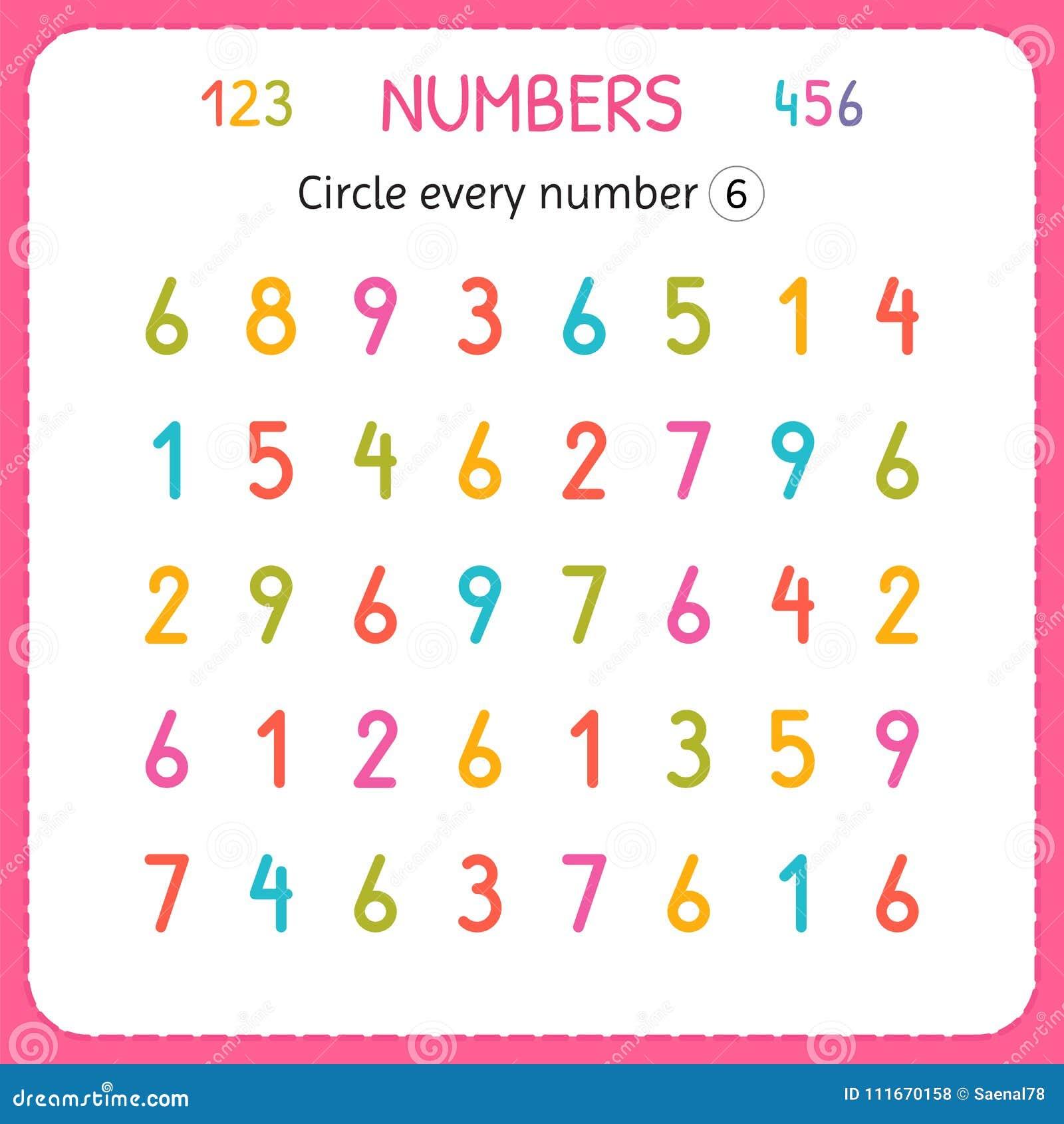 Kreisen Sie Jede Nr Sechs Ein Zahlen Für Kinder Arbeitsblatt Für