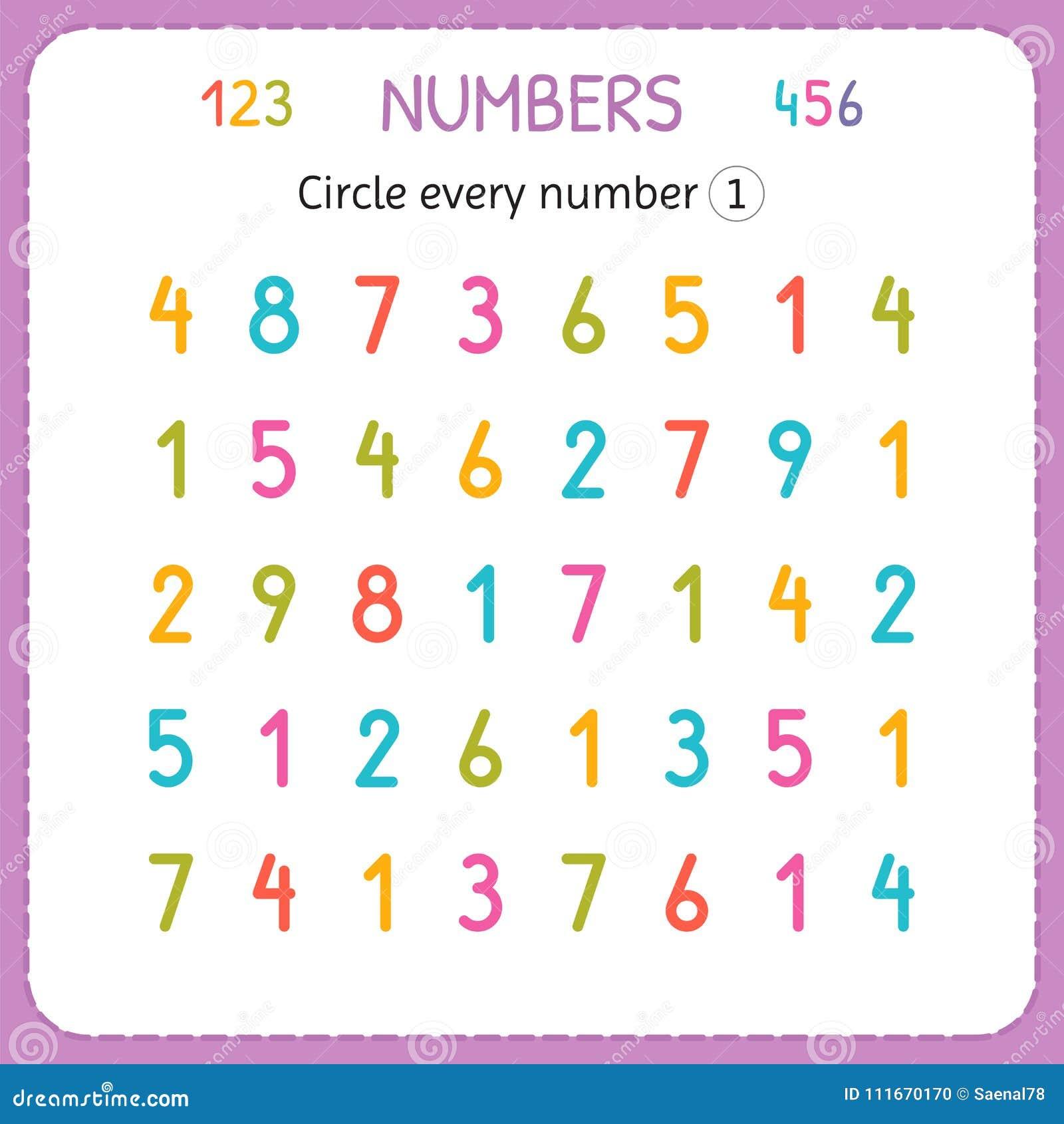 Kreisen Sie jedes Nummer Eins ein Zahlen für Kinder Arbeitsblatt für Kindergarten und Vorschule Ausbildung, zum von Zahlen zu sch