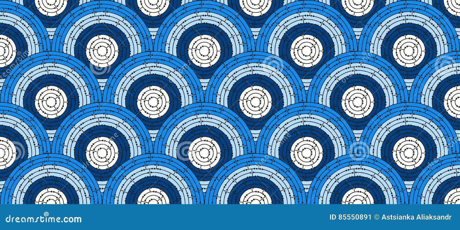 Kreisförmiges nahtloses Muster des farbigen Labyrinths mit Punkten, flach