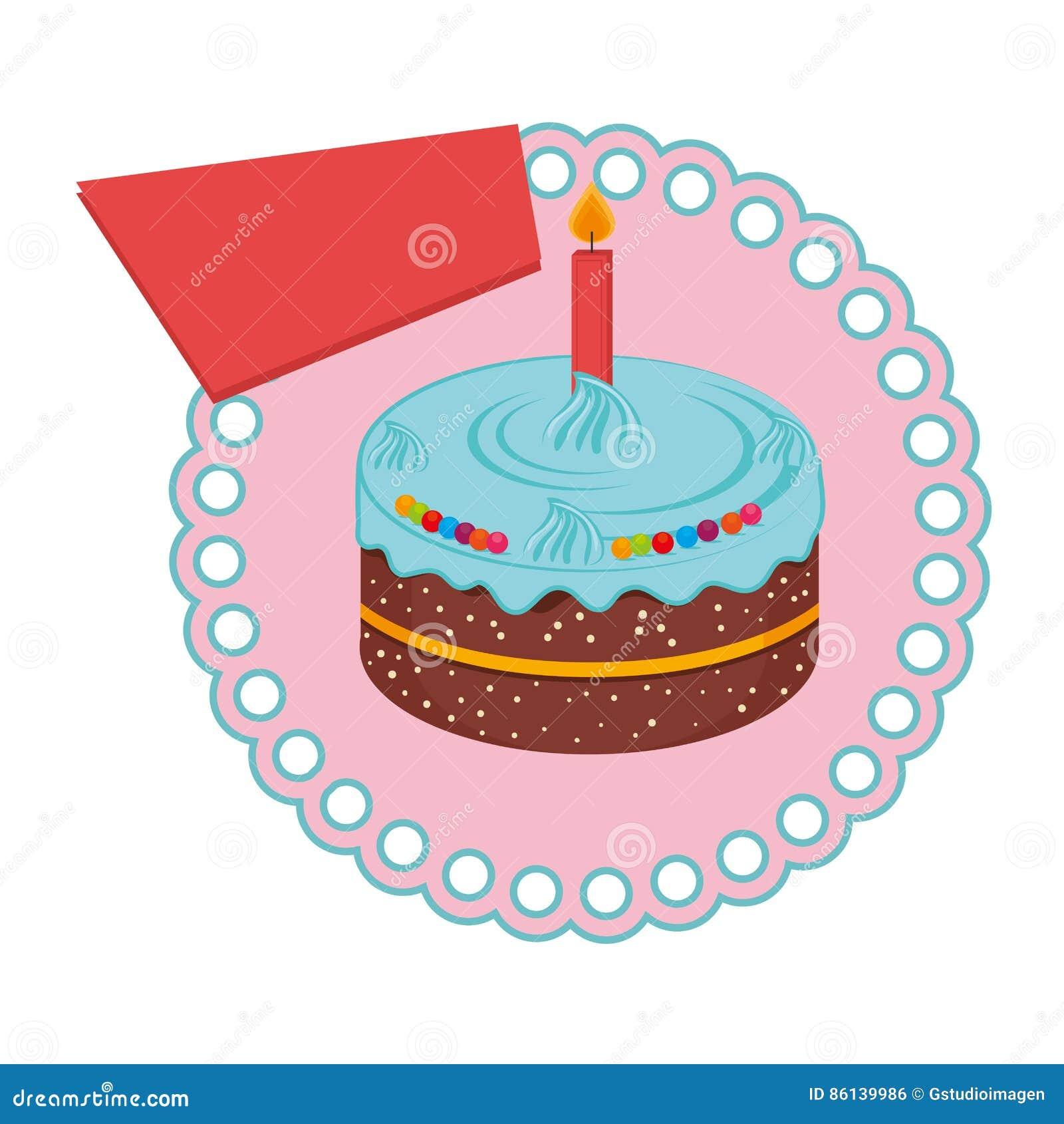 Kreisrahmen Mit Geburtstagskuchen Mit Kerze Vektor Abbildung ...