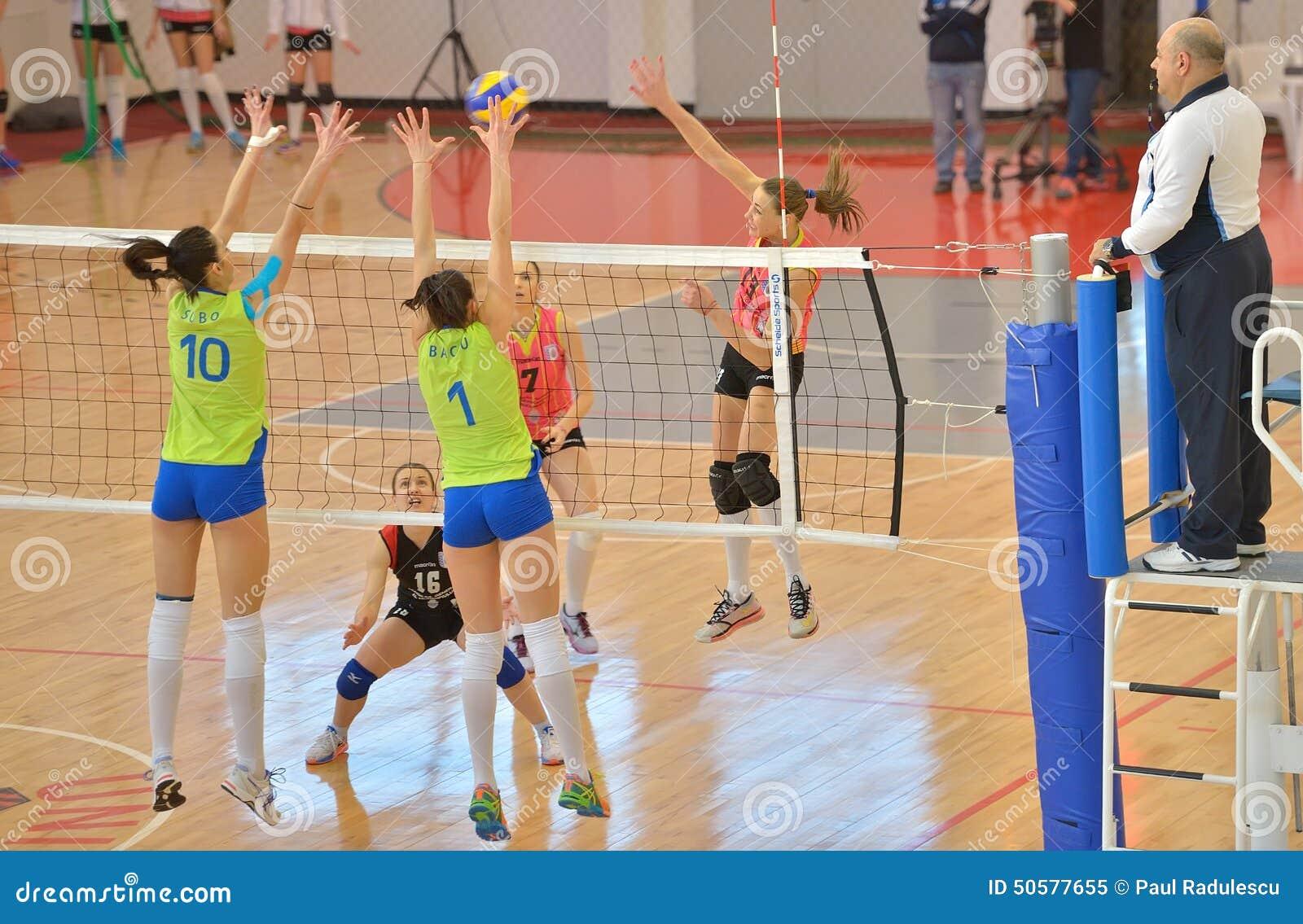 Kremena Kamenova, attacks during the match between CSM Bucharest and CS Stiinta Bacau
