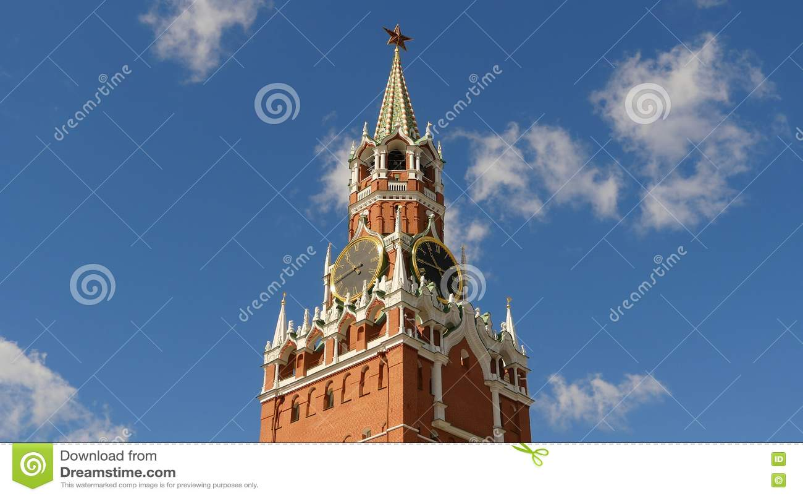 Kremlin de Moscou, quadrado vermelho A torre e o pulso de disparo de Spasskaya decorados pelo rubi star na parte superior dela Fu