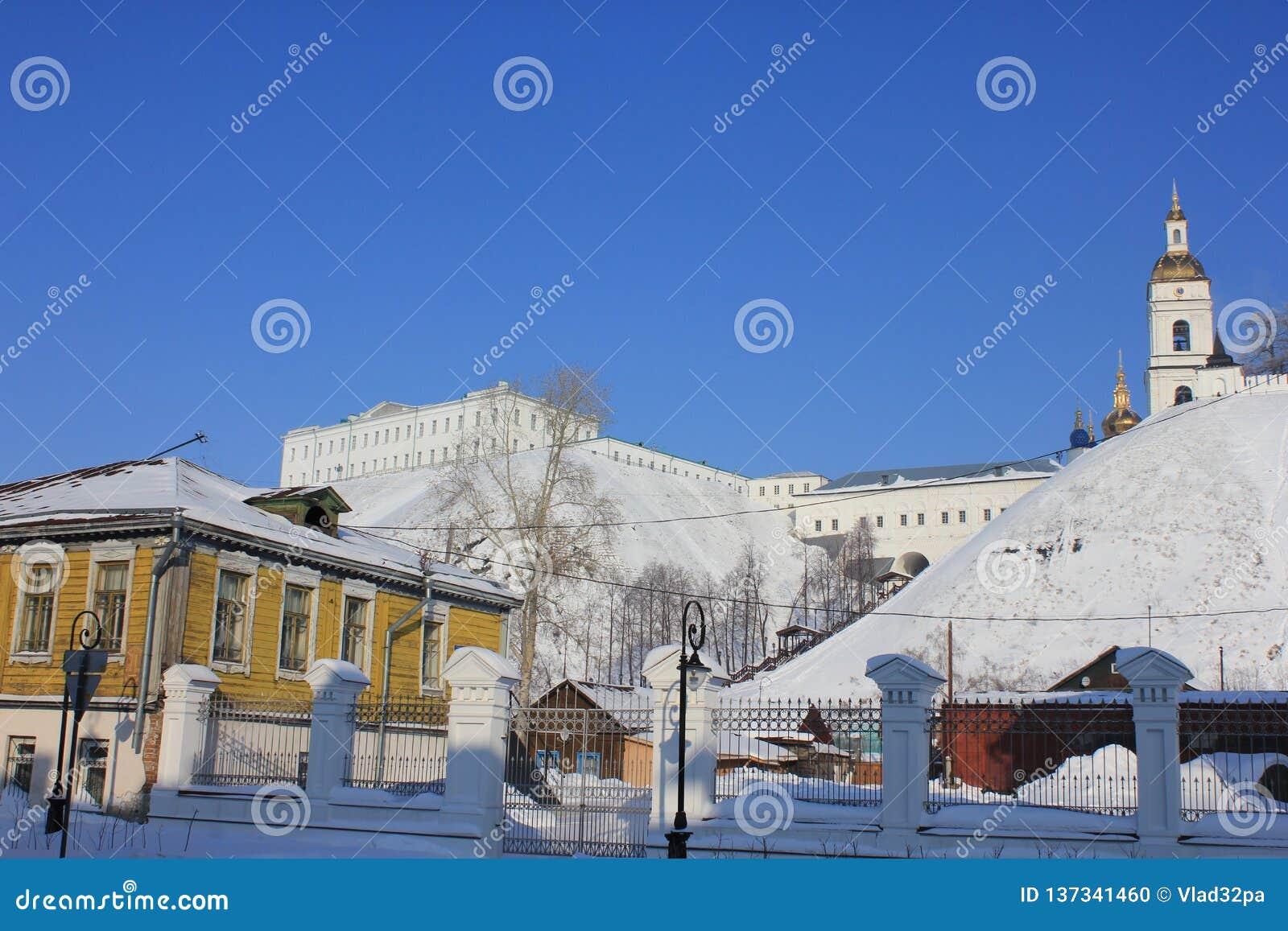 Kremlin de Tobolsk, Tobolsk, Sibéria, Rússia Veja a parte mais inferior da cidade