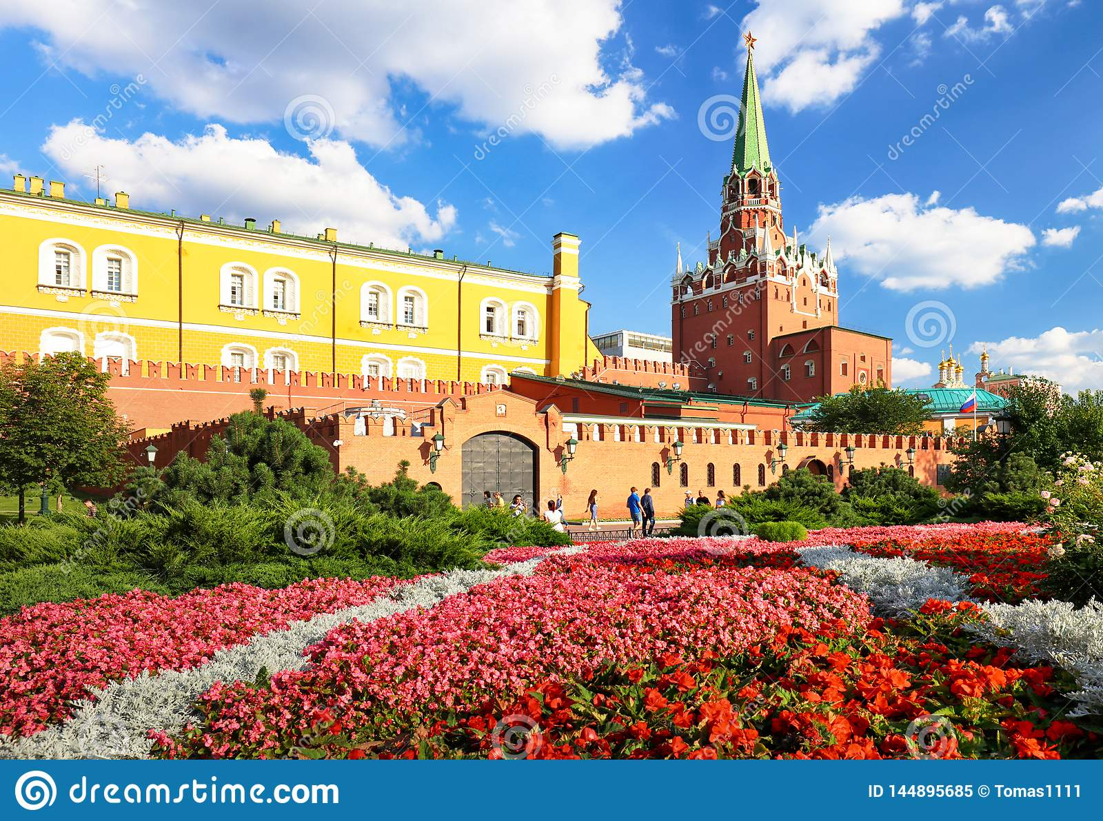 Kremlin in Moscow with flowers park, Russia