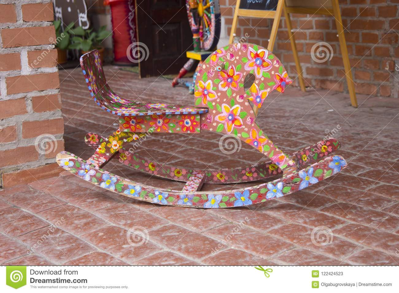 Painted Rocking Horse Toy Background Space For Text Stock Image Image Of Background Rows 122424523