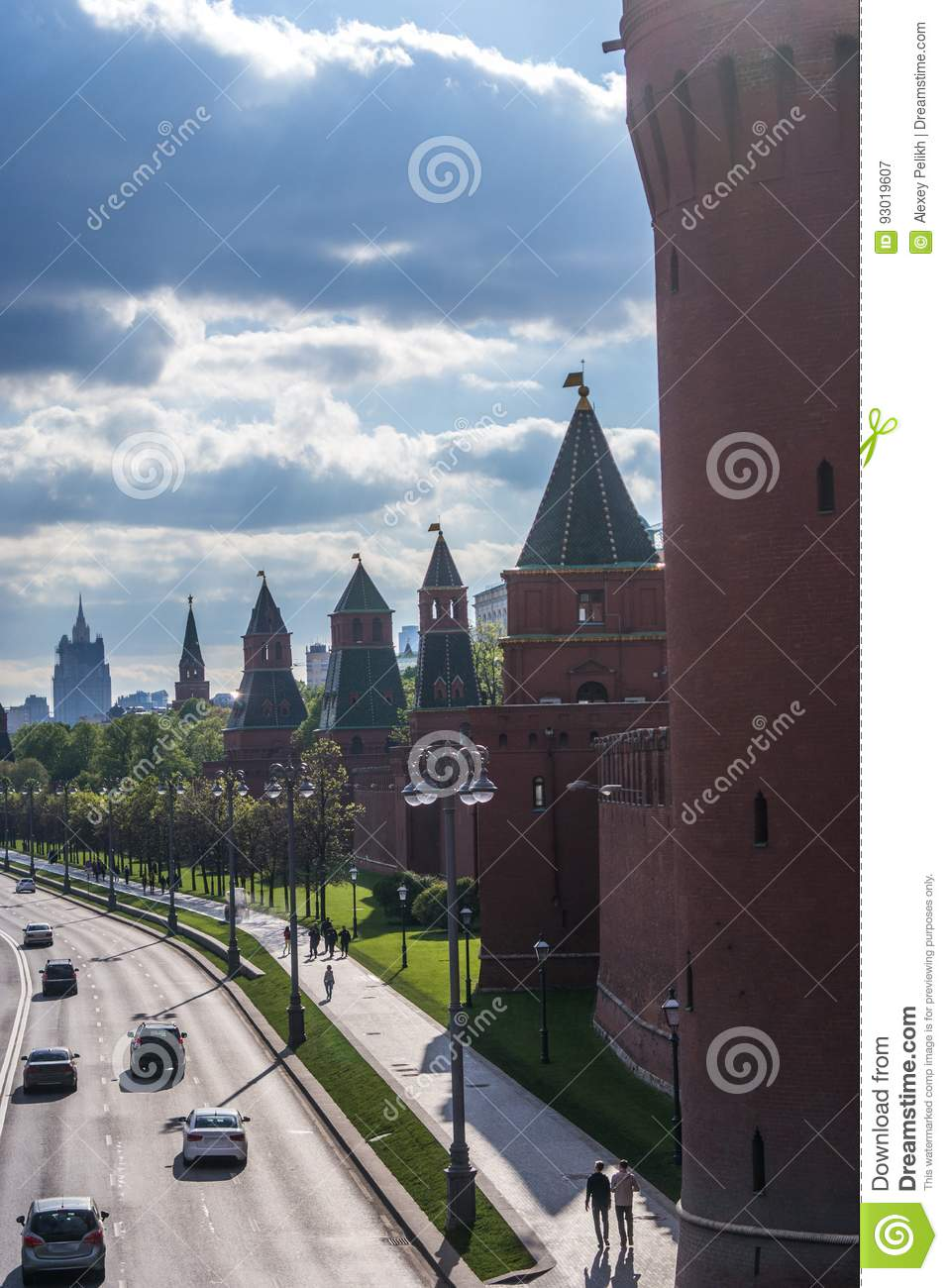 Kremlin wall towers in Moscow