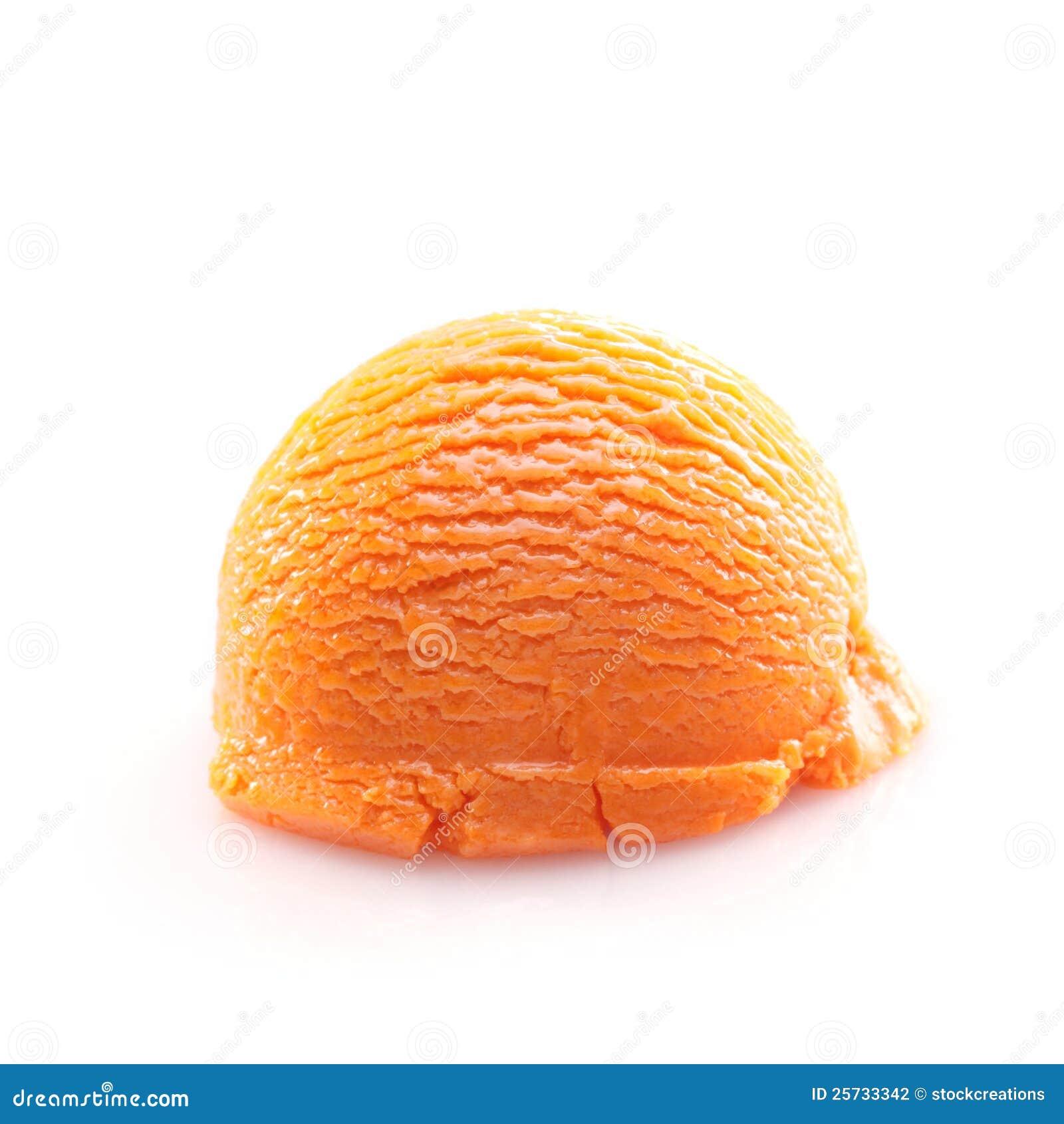 Kremowy lód odizolowywająca pomarańczowa miarka