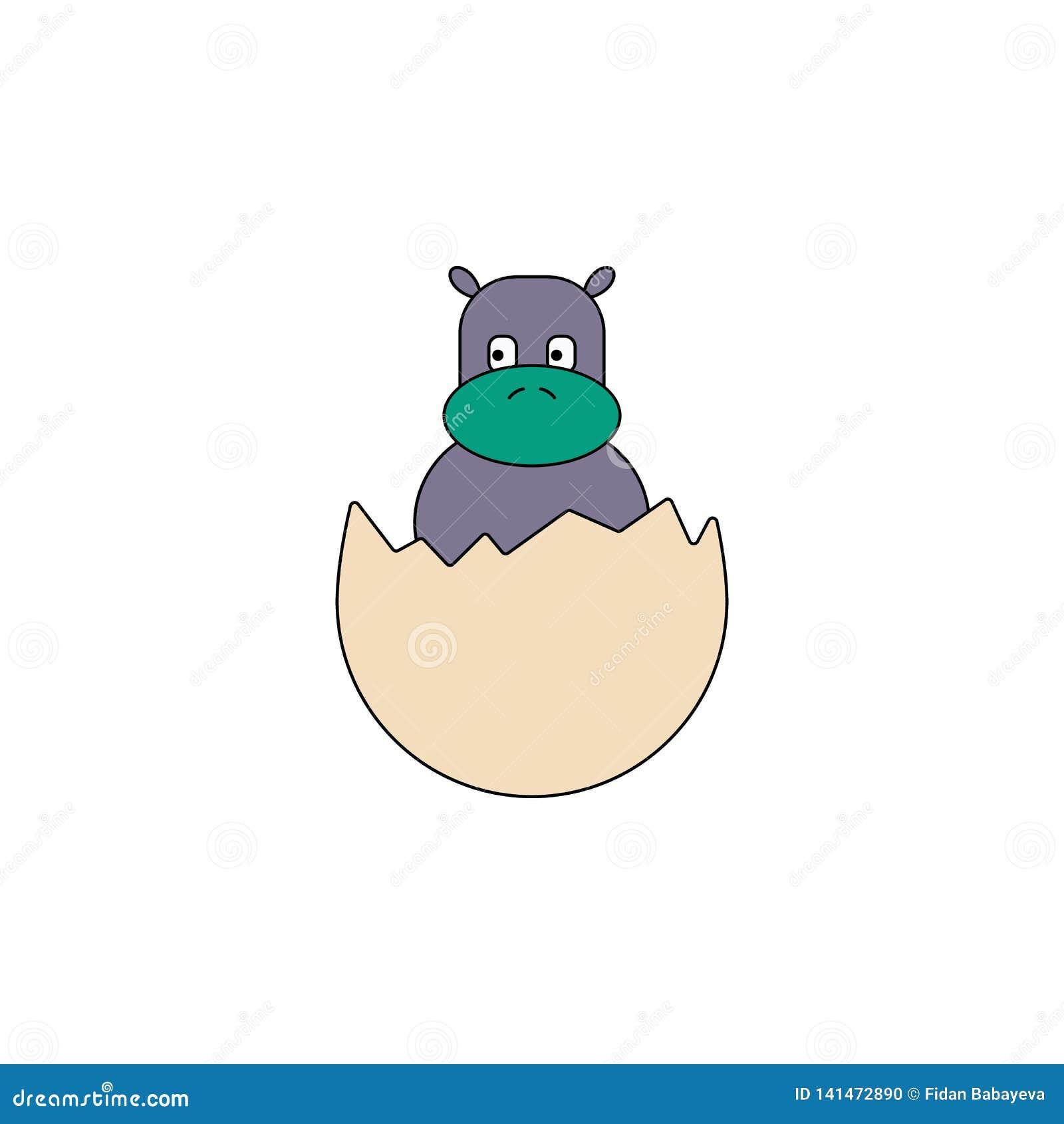 Kreskówki hatchling jajka zabawki barwiona ikona Znaki i symbole mogą używać dla sieci, logo, mobilny app, UI, UX