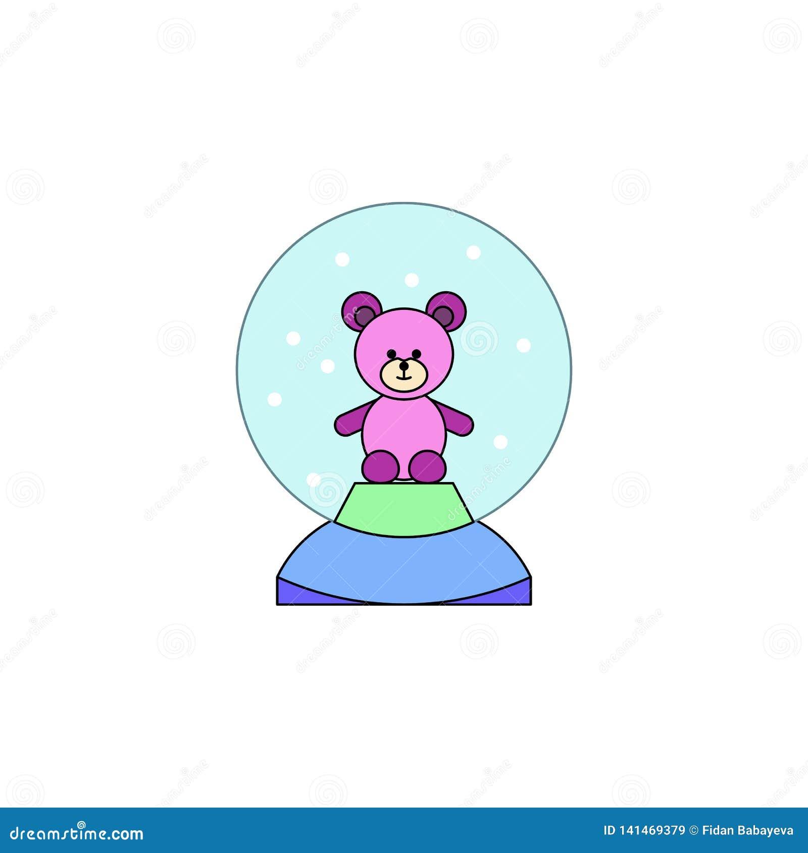 Kreskówki kuli ziemskiej niedźwiedzia śnieżnej zabawki barwiona ikona Znaki i symbole mogą używać dla sieci, logo, mobilny app, U