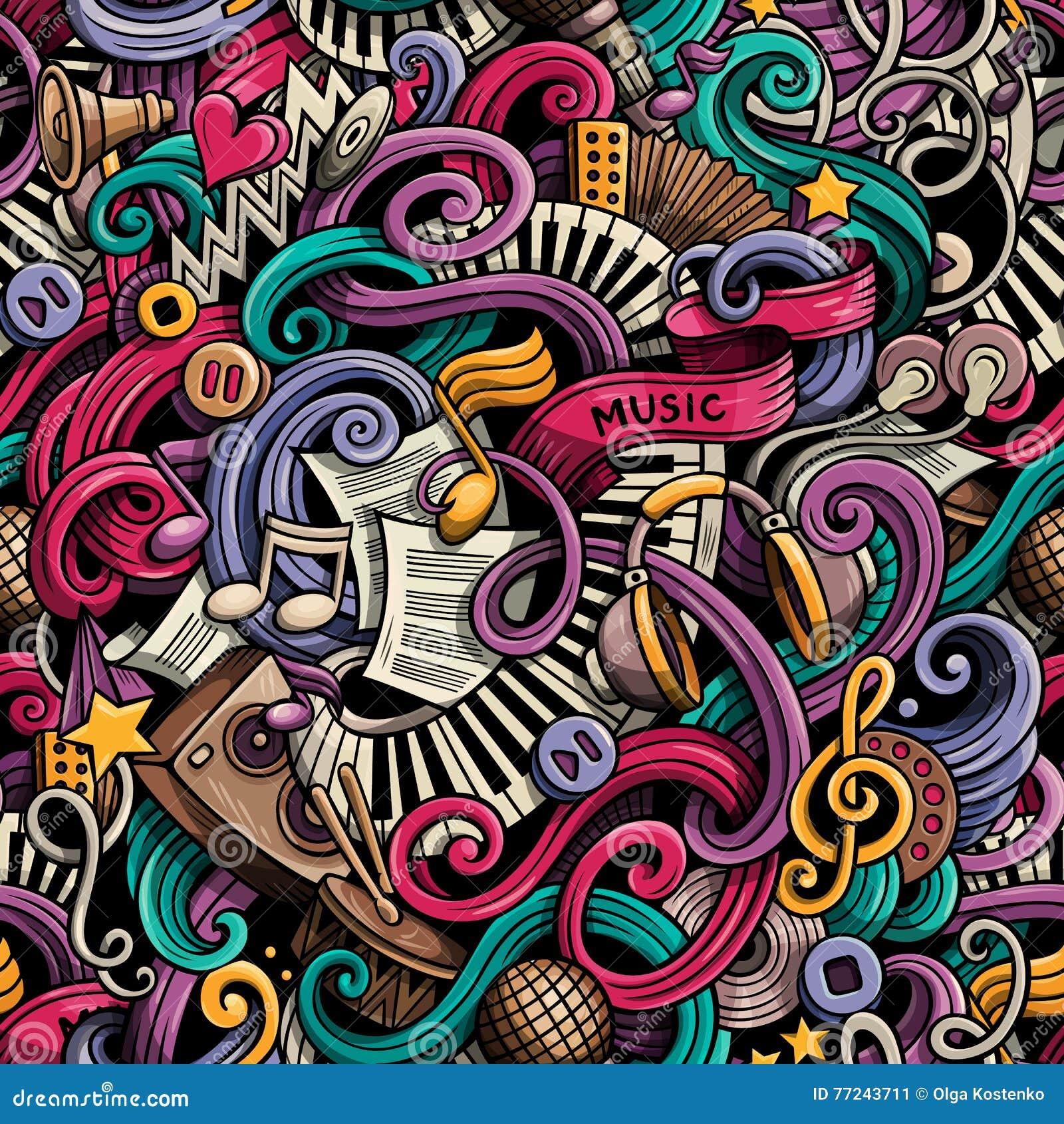 Kreskówek śliczni doodles wręczają patroszonego Muzycznego bezszwowego wzór kolorowy