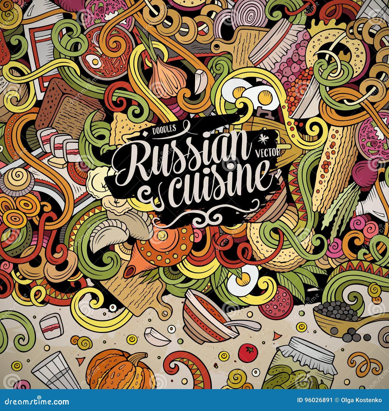 Kreskówek ślicznych doodles jedzenia ramy Rosyjski projekt