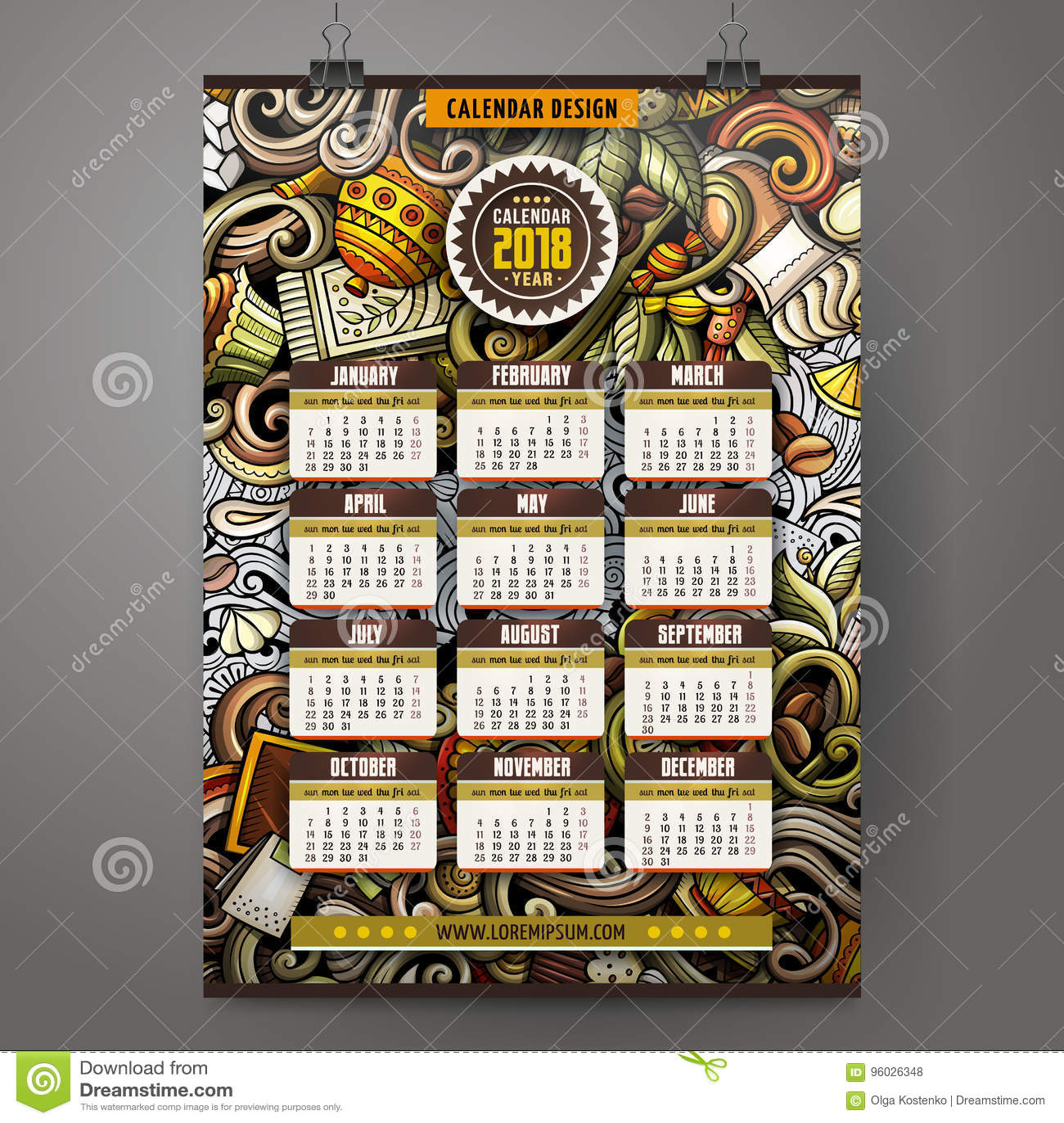 Kreskówek doodles kawiarnia 2018 rok kalendarza szablon