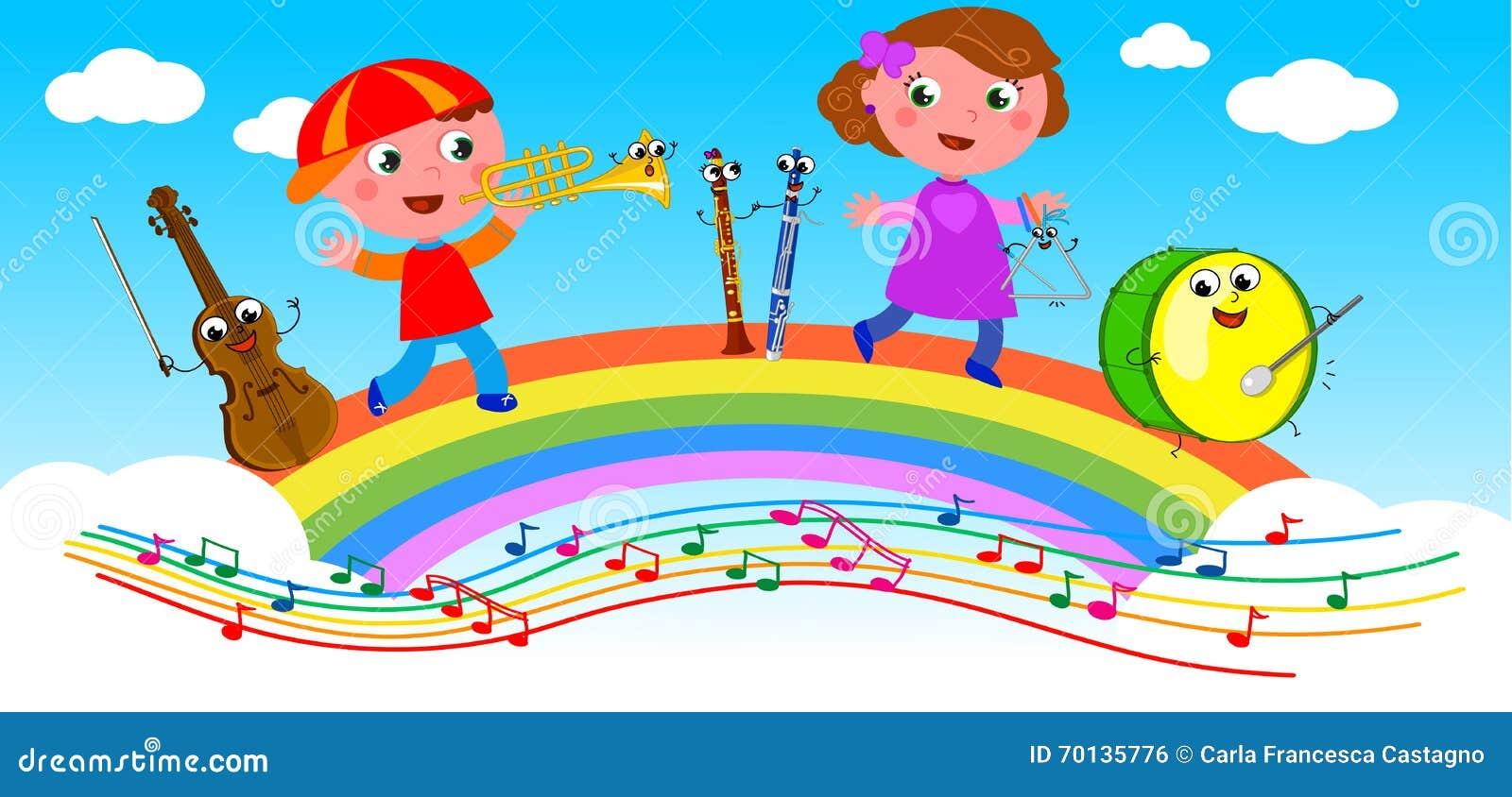 Kreskówek dzieci i instrumenty muzyczni