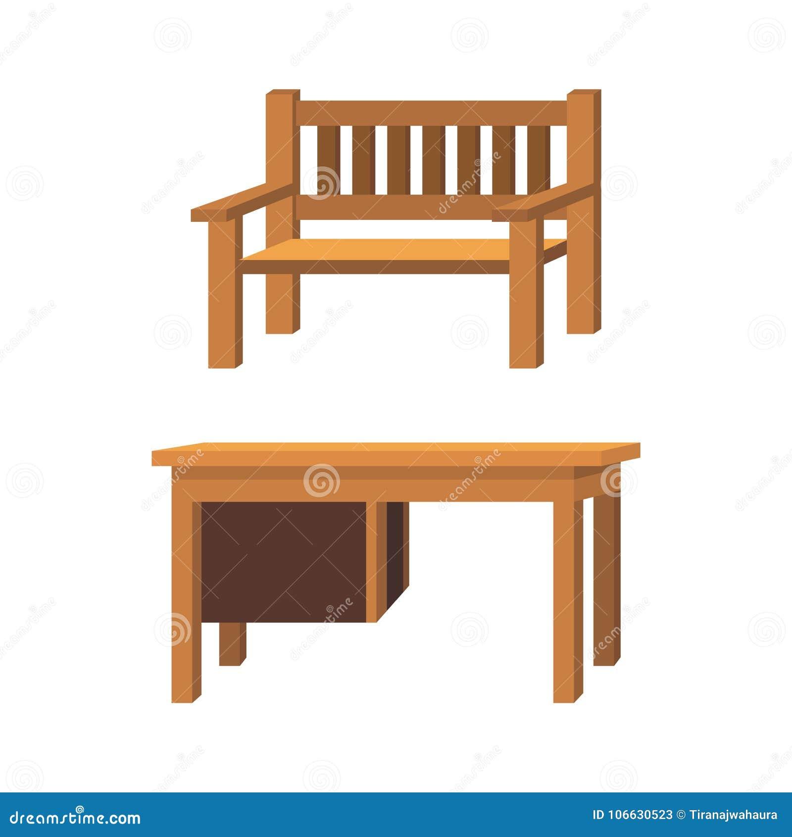 Kreskówek krzeseł i stołów wektoru drewniana ilustracja