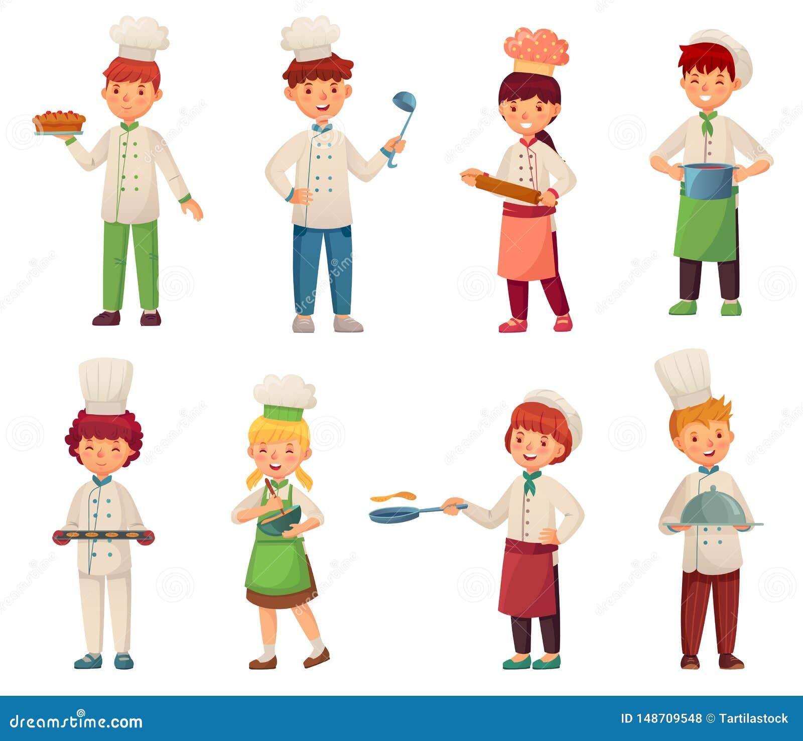 Kreskówek kulinarni dzieci Mały szef kuchni gotuje jedzenie, dzieciaków dziecko kuchennych szefów kuchni ilustracji wektorowego s