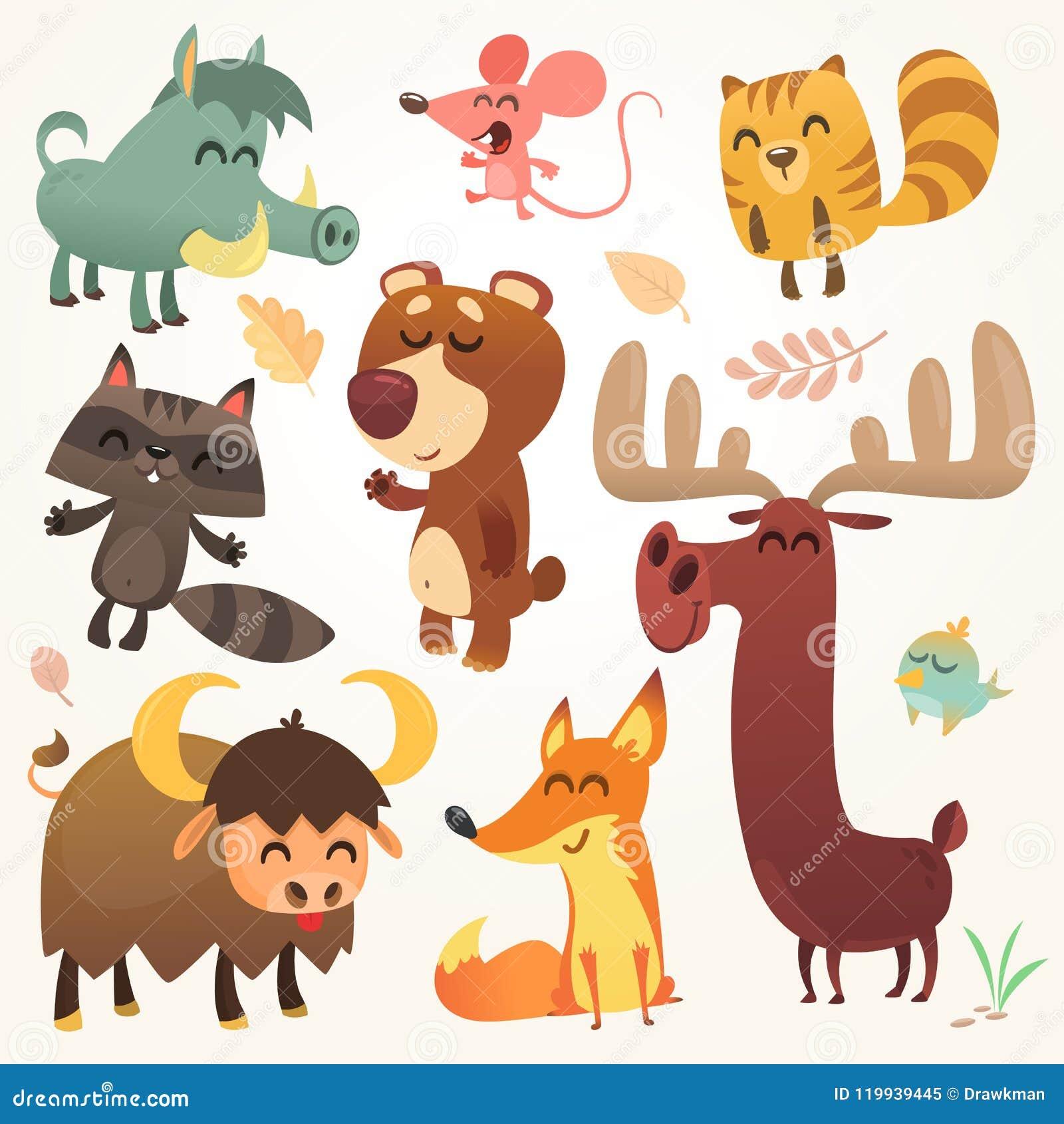 Kreskówek Lasowi zwierzęta Ustawiający Wektor ilustrujący Wiewiórka, mysz, szop pracz, knur, lis, bizon, niedźwiedź, łoś amerykań