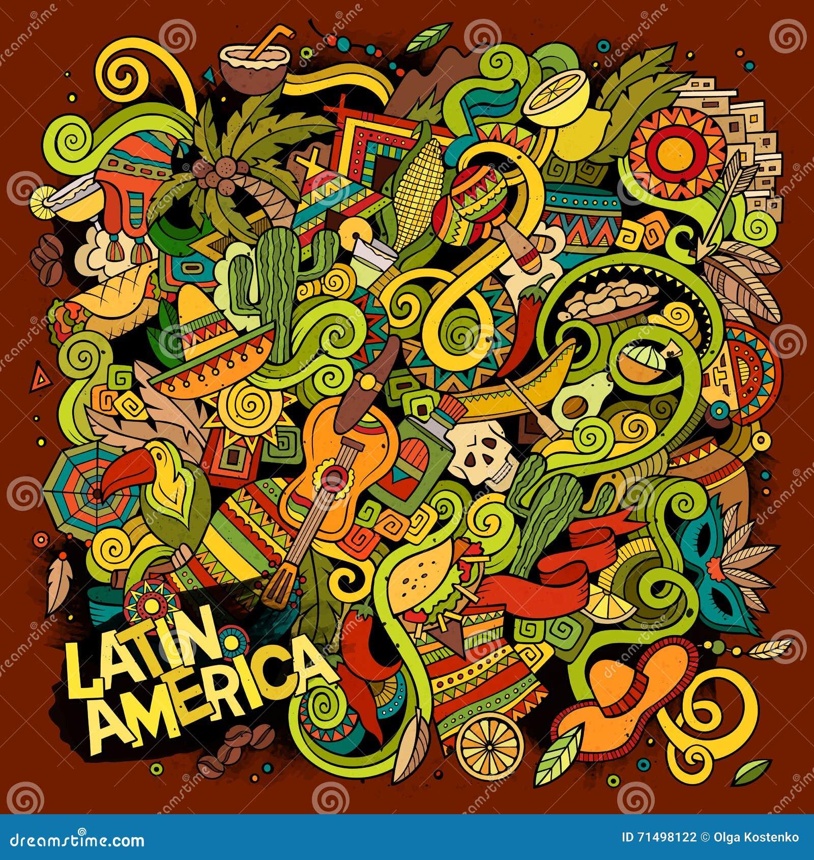 Kreskówek pociągany ręcznie doodles Latyno-amerykański ilustracja