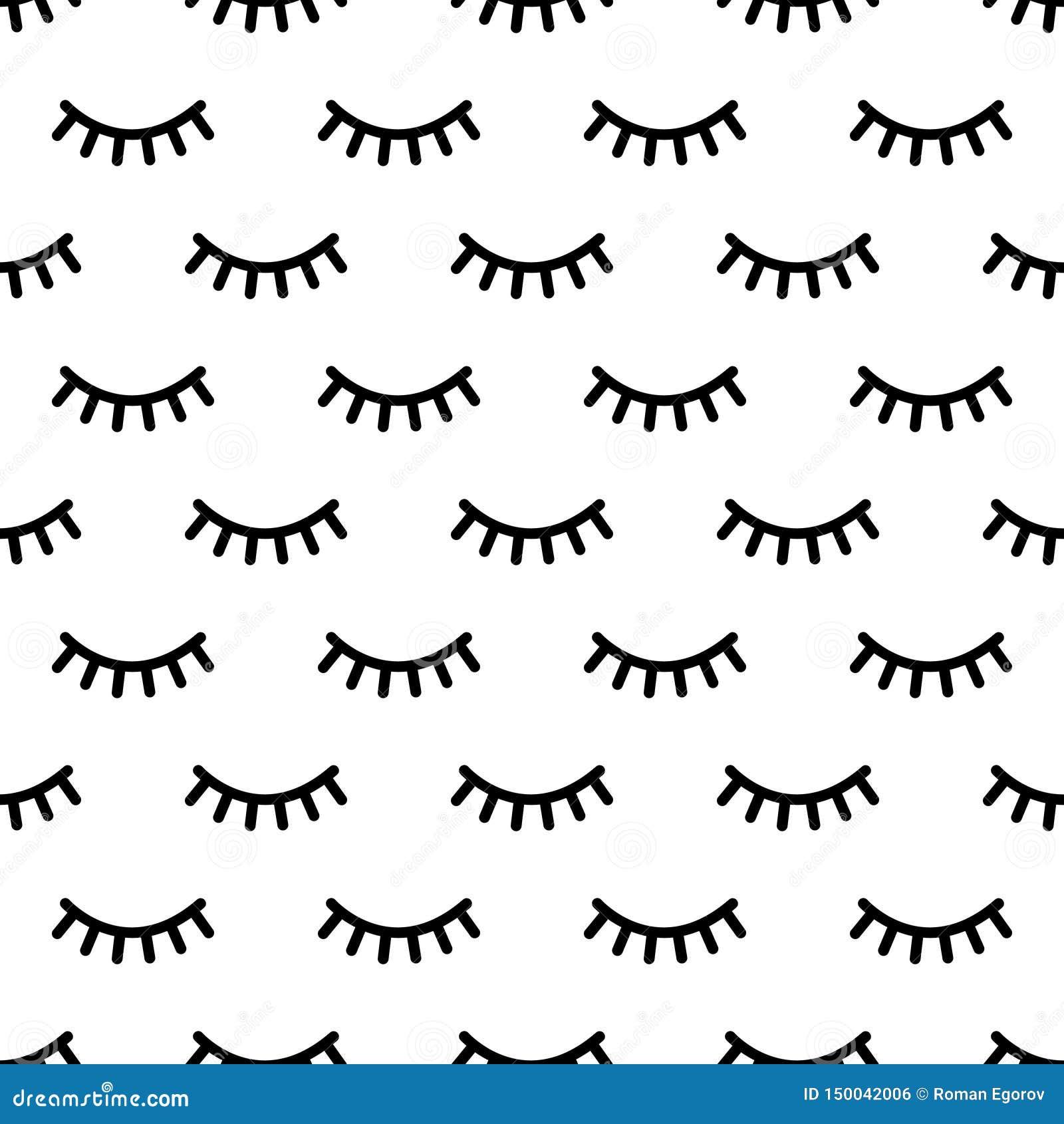 Kreskówek rzęs wzór Doodle żeńskiego makeup tło, prosta minimalistyczna jednorożec zamykający oczy Wektorowy bezszwowy druk
